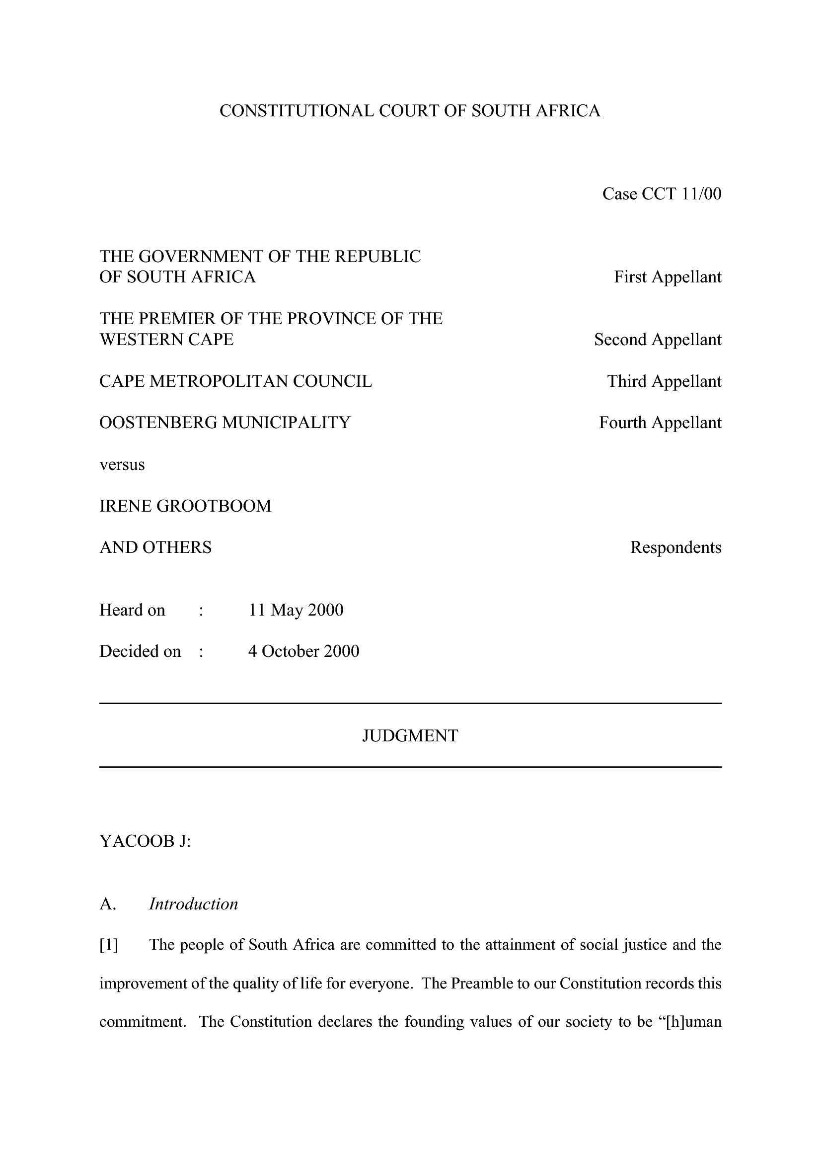 Corte Costituzionale Sud Africa - Caso 11/00
