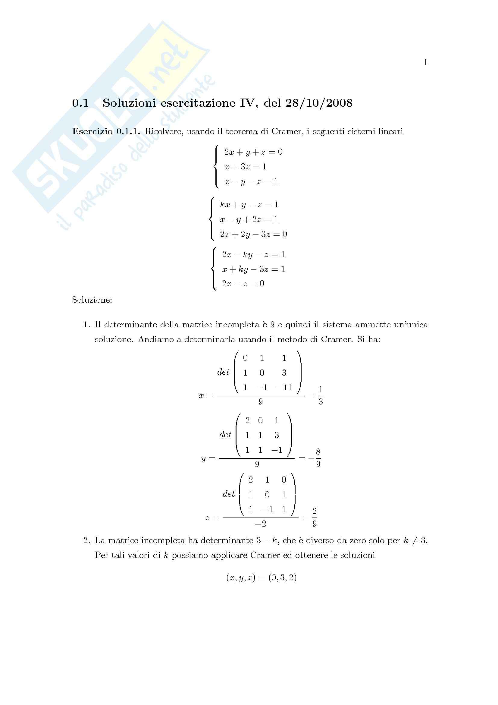 Matematica Generale - Cramer, basi vettoriali, matrici