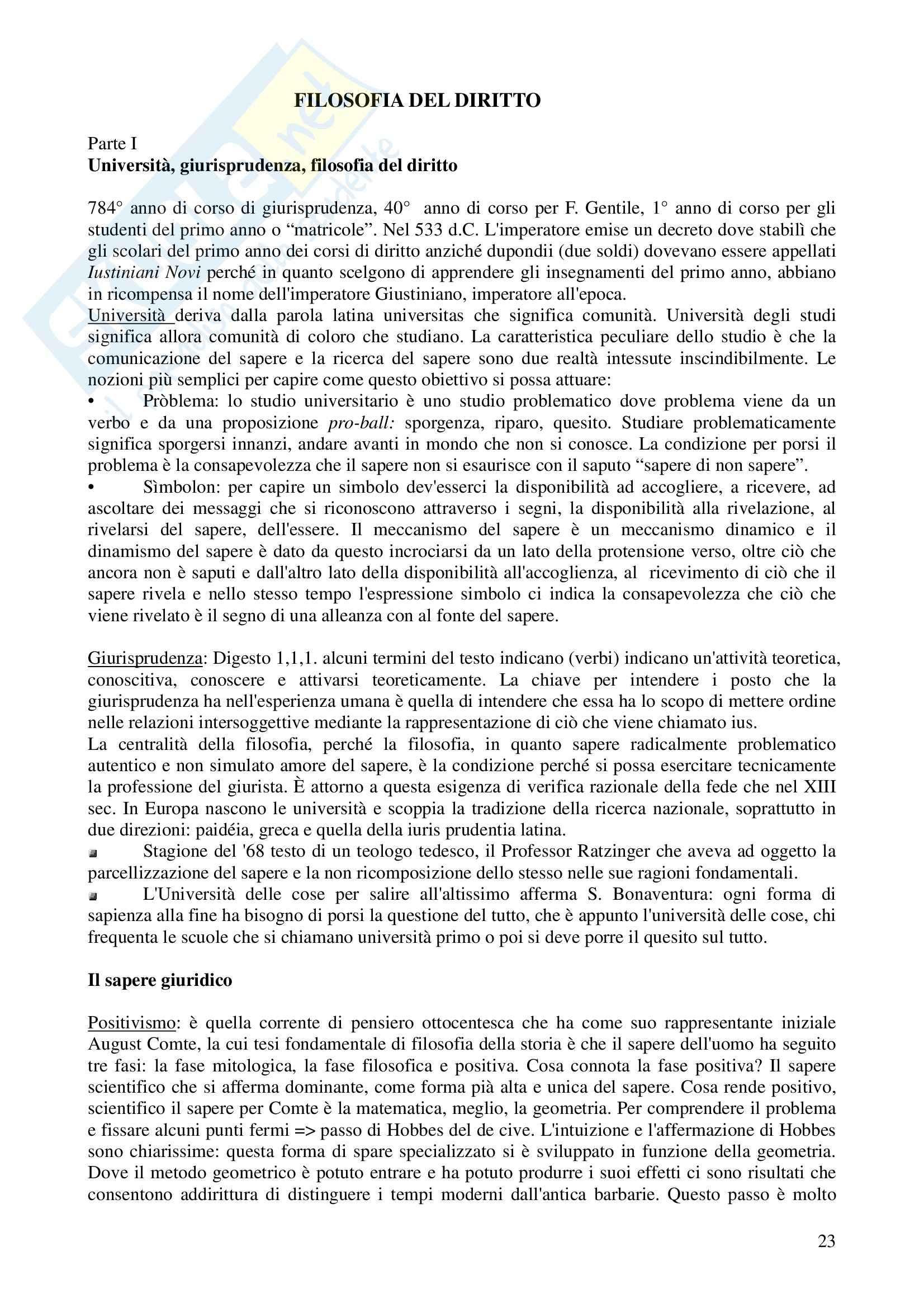 Riassunto esame Filosofia del diritto, prof. Castellano, libro consigliato Le lezioni del quarantesimo anno raccolte dagli allievi, Gentile