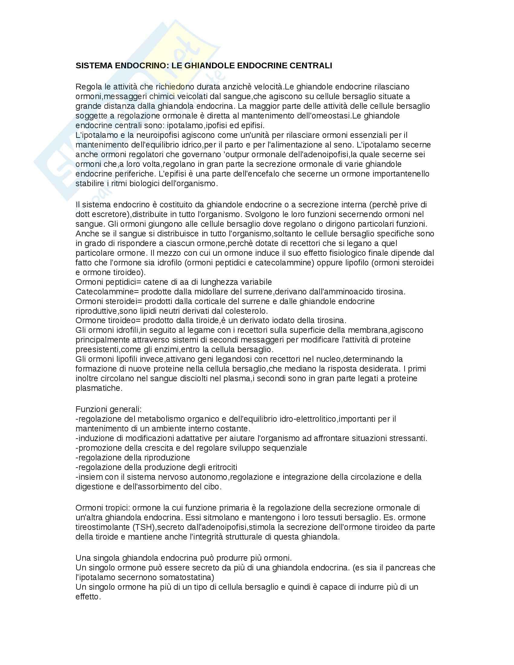 Sistema endocrino (basi), Fisiologia degli apparati