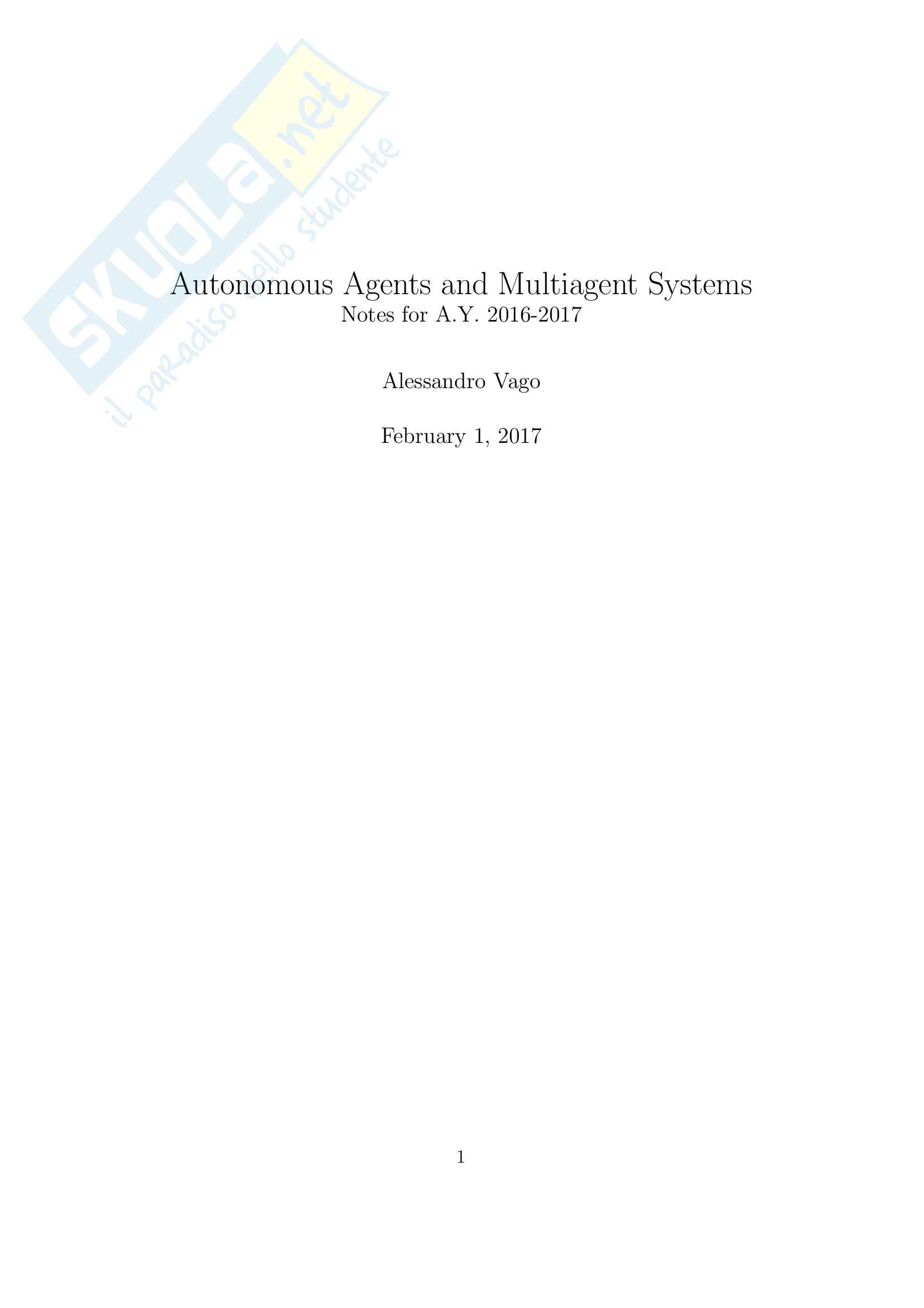 Autonomous Agents and Multiagent Systems, prof. Amigoni, Polimi