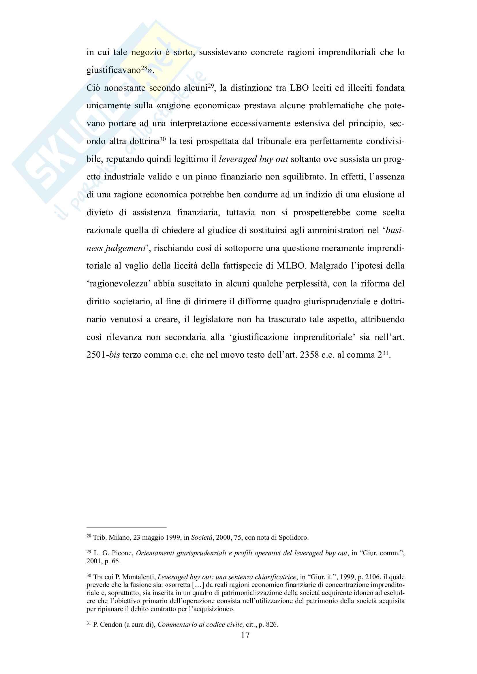 Tesi leveraged buy out e assitenza finanziaria: il rapporto tra l'art. 2501-bis c.c. e l'art. 2358 c.c. Pag. 16