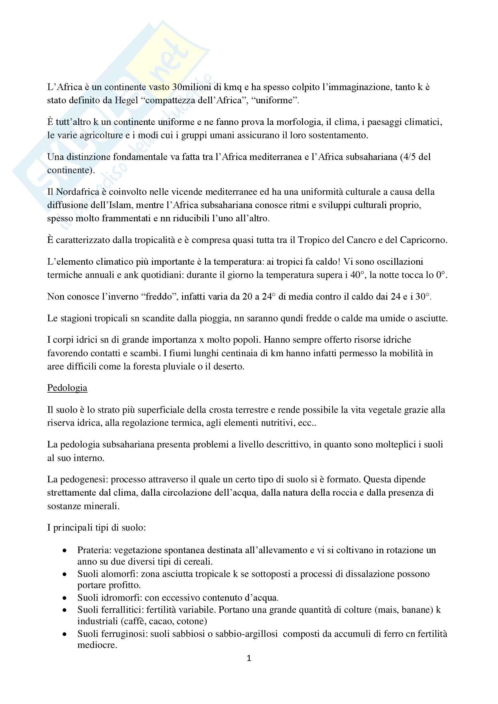 Riassunto esame Geografia sociale e culturale, prof. Gamberoni, libro consigliato Africa subsahariana. Cultura, società, territorio, Turco
