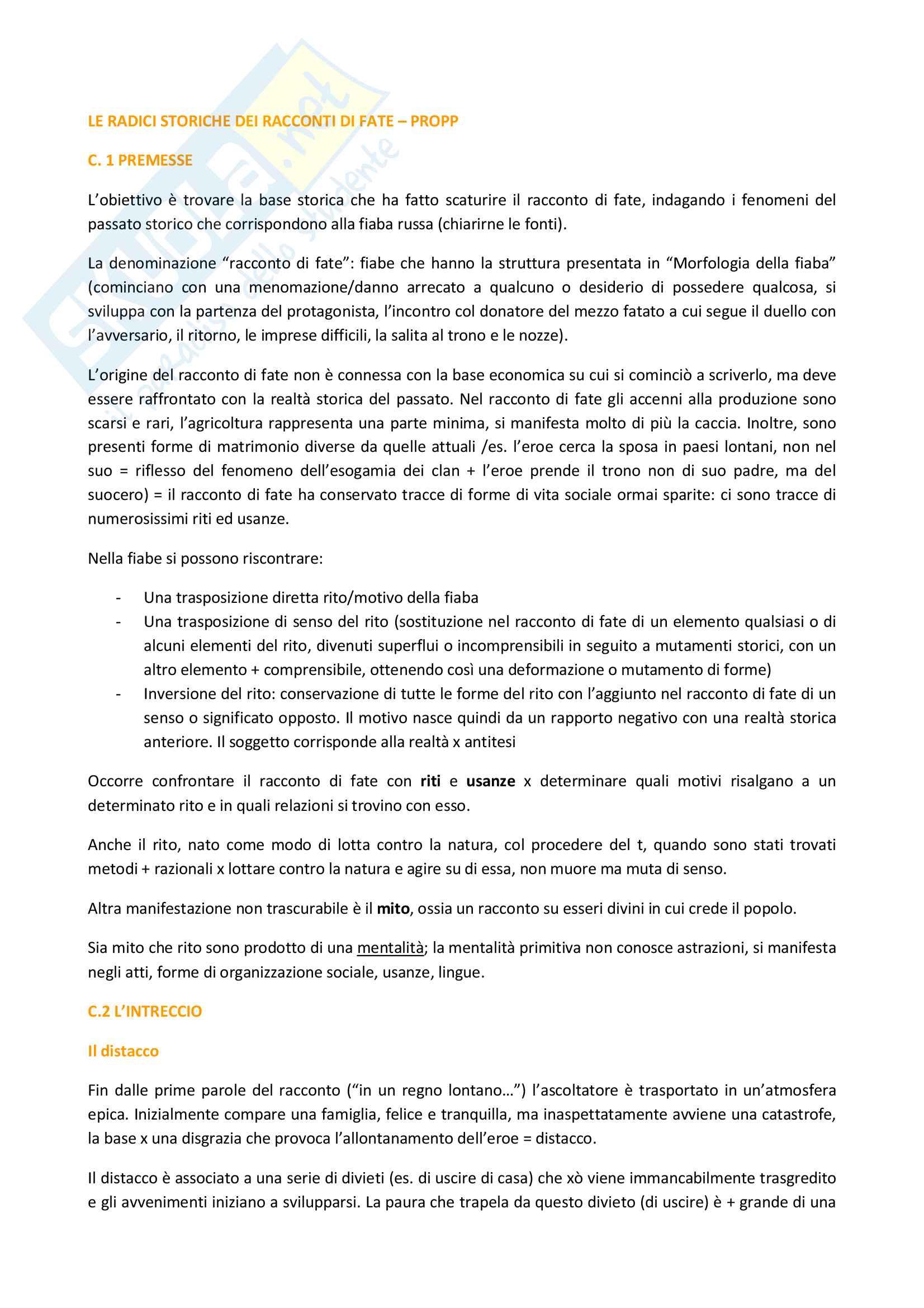Riassunto esame Antropologia culturale, prof. Guaraldo, libro consigliato Le radici storiche dei racconti di fate, di Propp