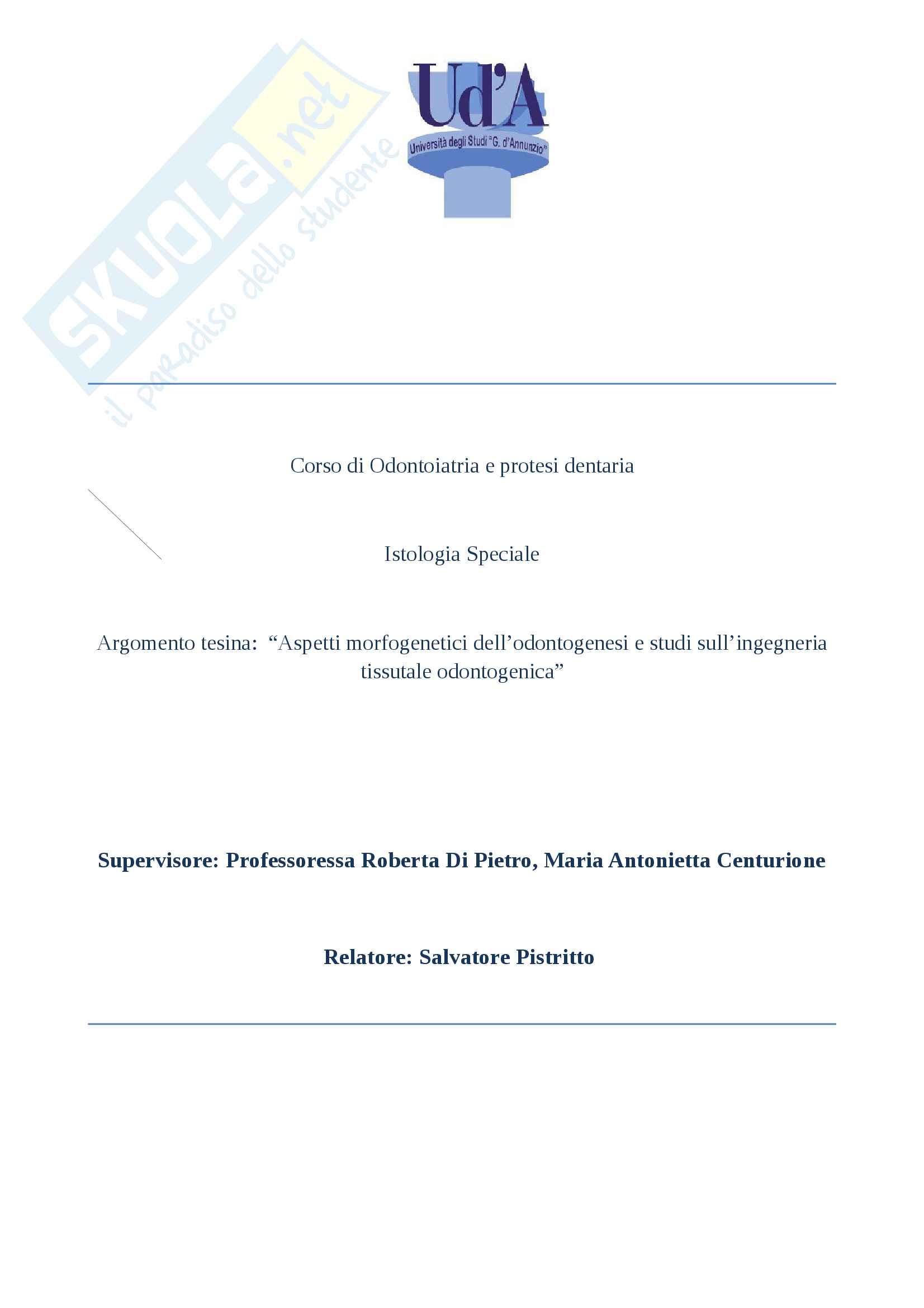 Tesina Odontogenesi, Istologia Speciale