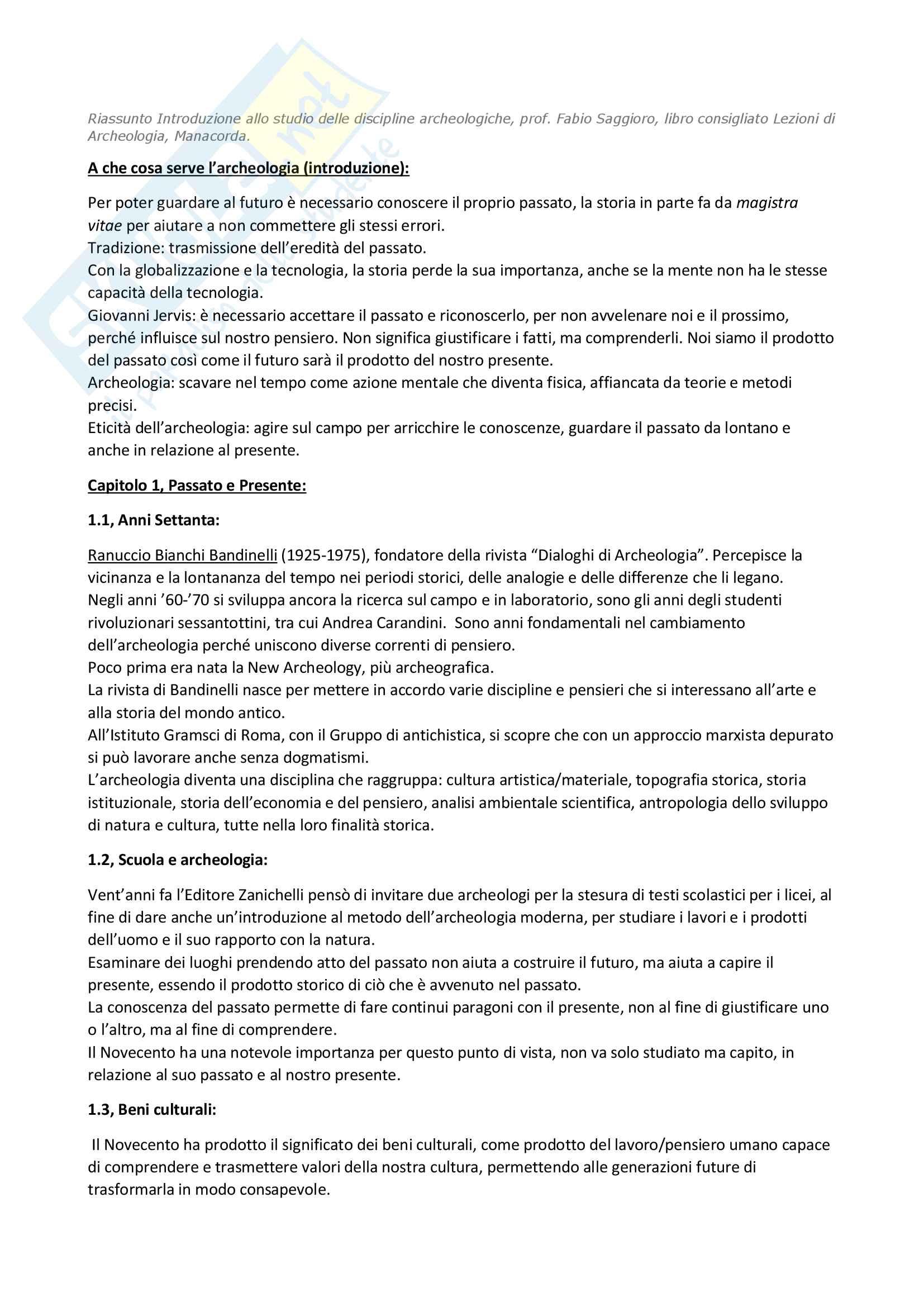 Riassunto esame Introduzione alle discipline archeologiche, prof. Saggioro. Libro consigliato Lezioni di Archeologia, Manacorda