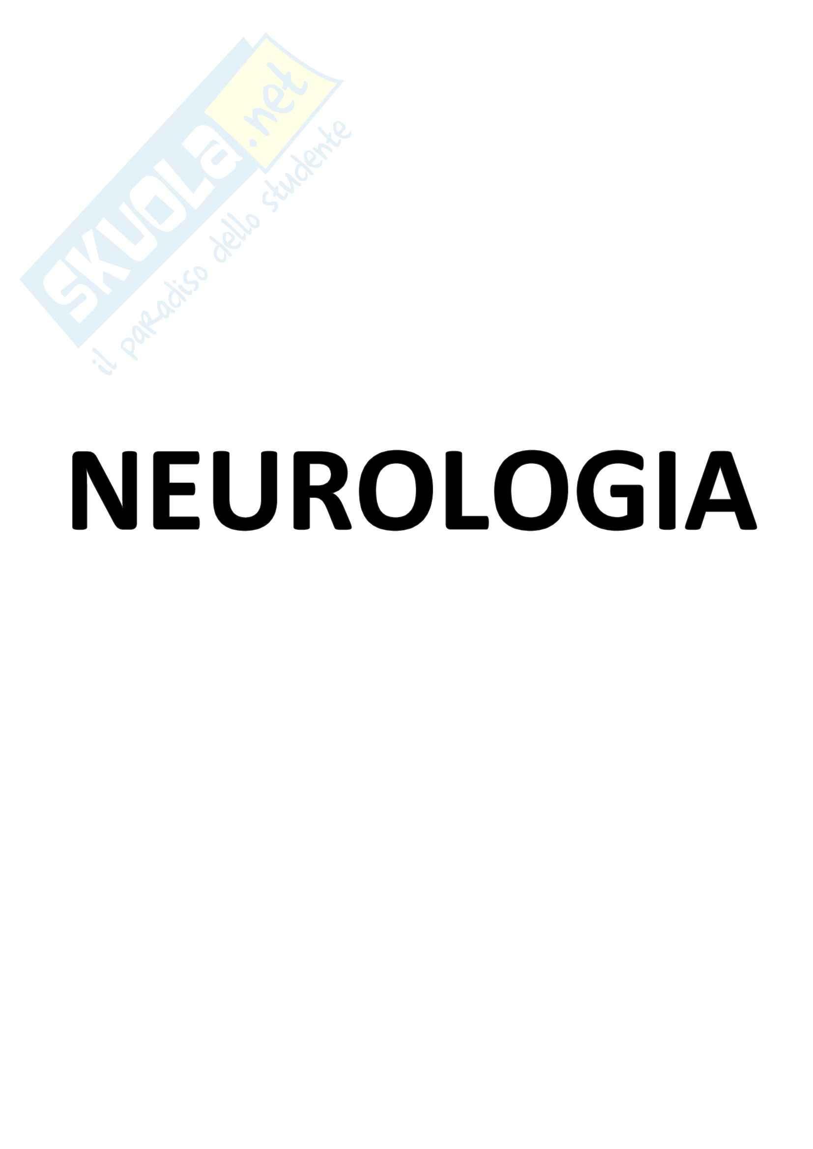 Riassunto esame Neurologia, prof. Valeria