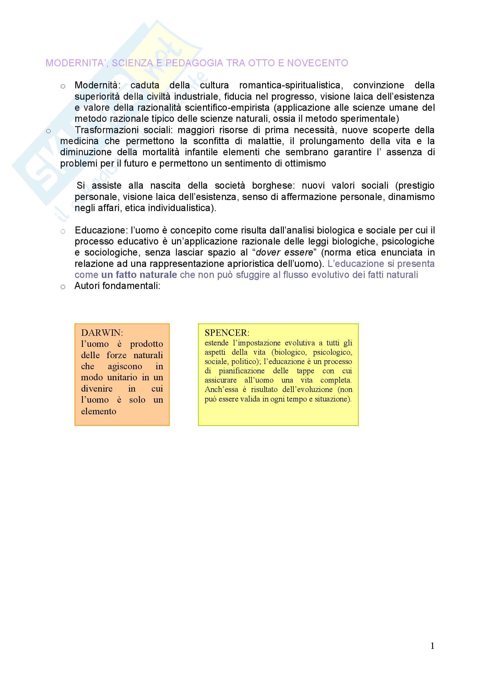 Riassunto esame Pedagogia, prof. Chiosso, libro consigliato Novecento pedagogico