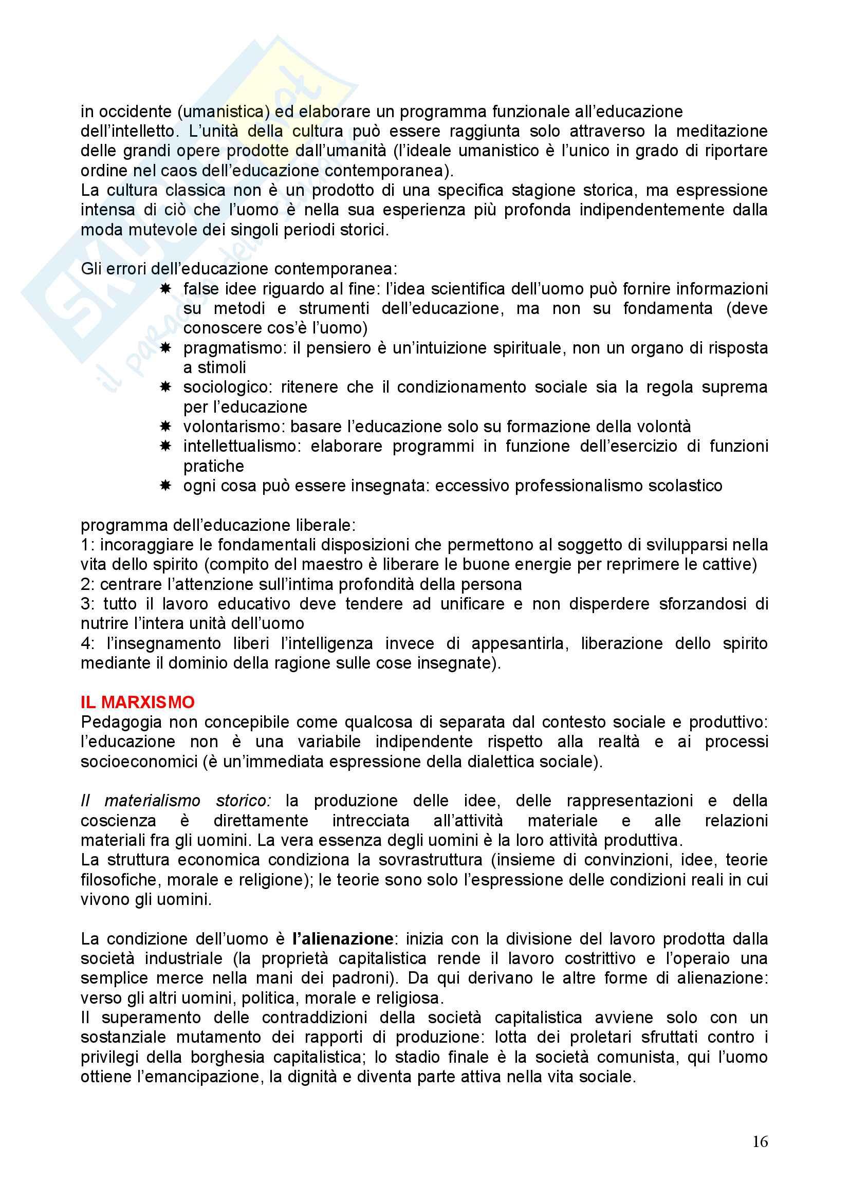 Riassunto esame Pedagogia, prof. Chiosso, libro consigliato Novecento pedagogico Pag. 16
