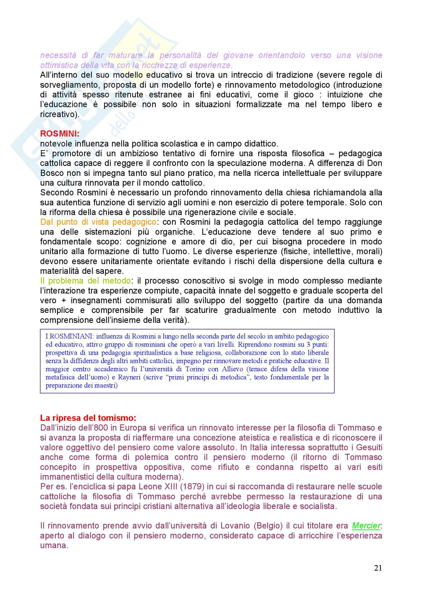 Riassunto esame Pedagogia, prof. Chiosso, libro consigliato Novecento pedagogico Pag. 21