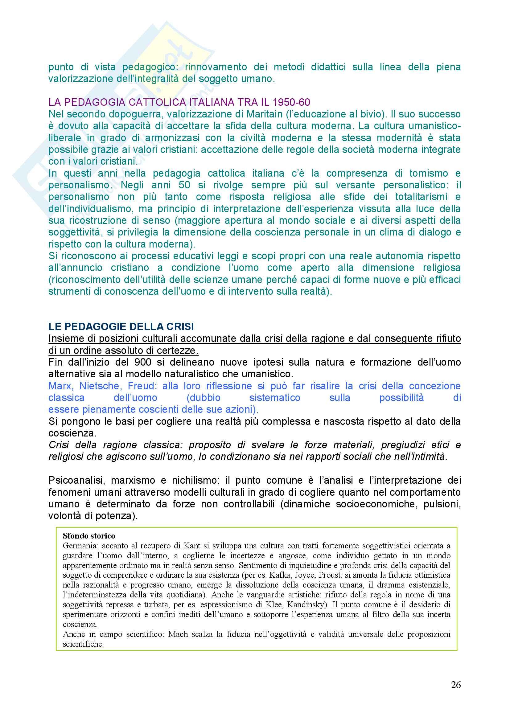 Riassunto esame Pedagogia, prof. Chiosso, libro consigliato Novecento pedagogico Pag. 26