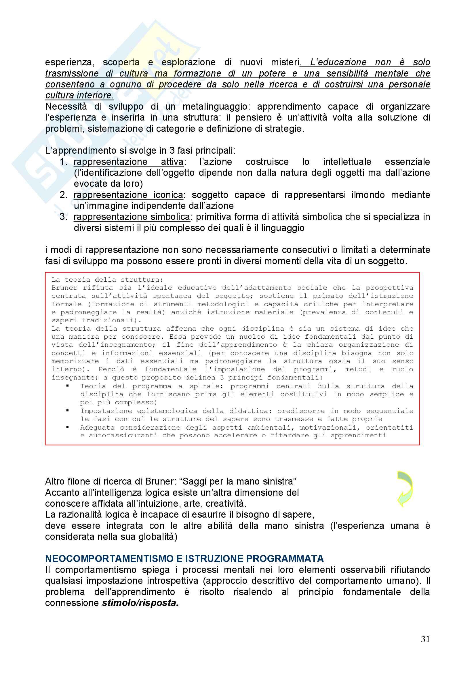 Riassunto esame Pedagogia, prof. Chiosso, libro consigliato Novecento pedagogico Pag. 31