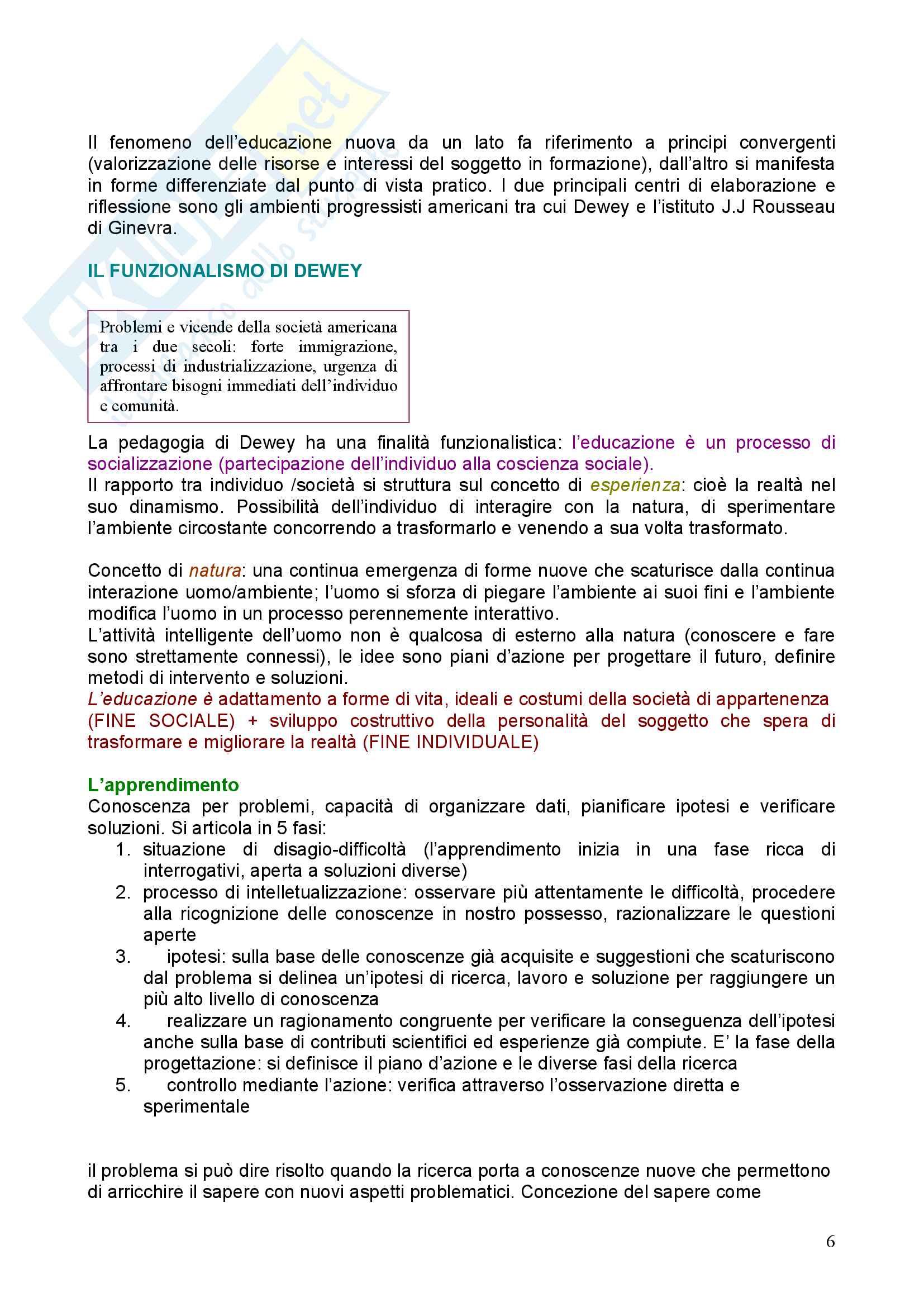 Riassunto esame Pedagogia, prof. Chiosso, libro consigliato Novecento pedagogico Pag. 6