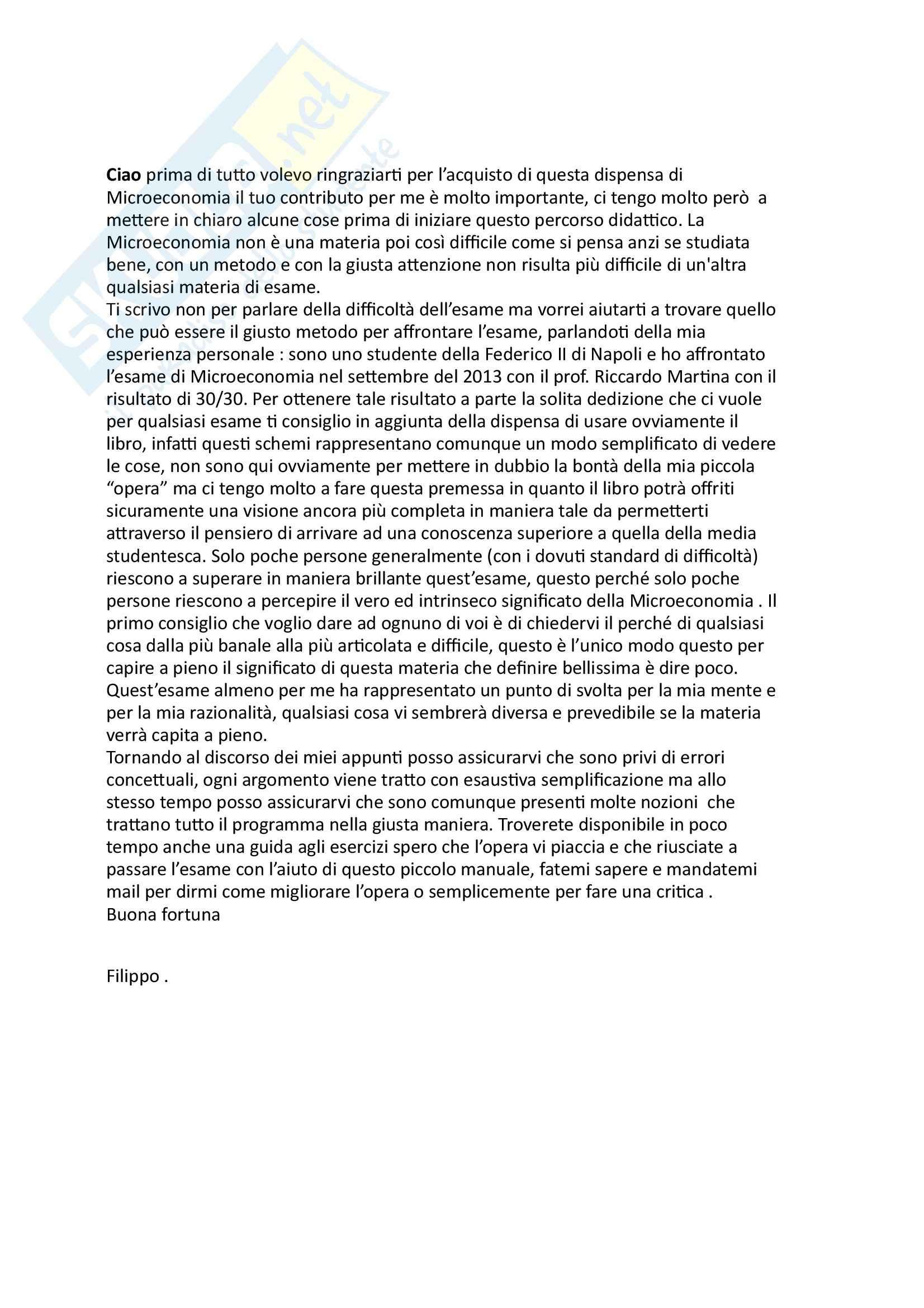 Microeconomia - Riassunto esame, prof. Martina
