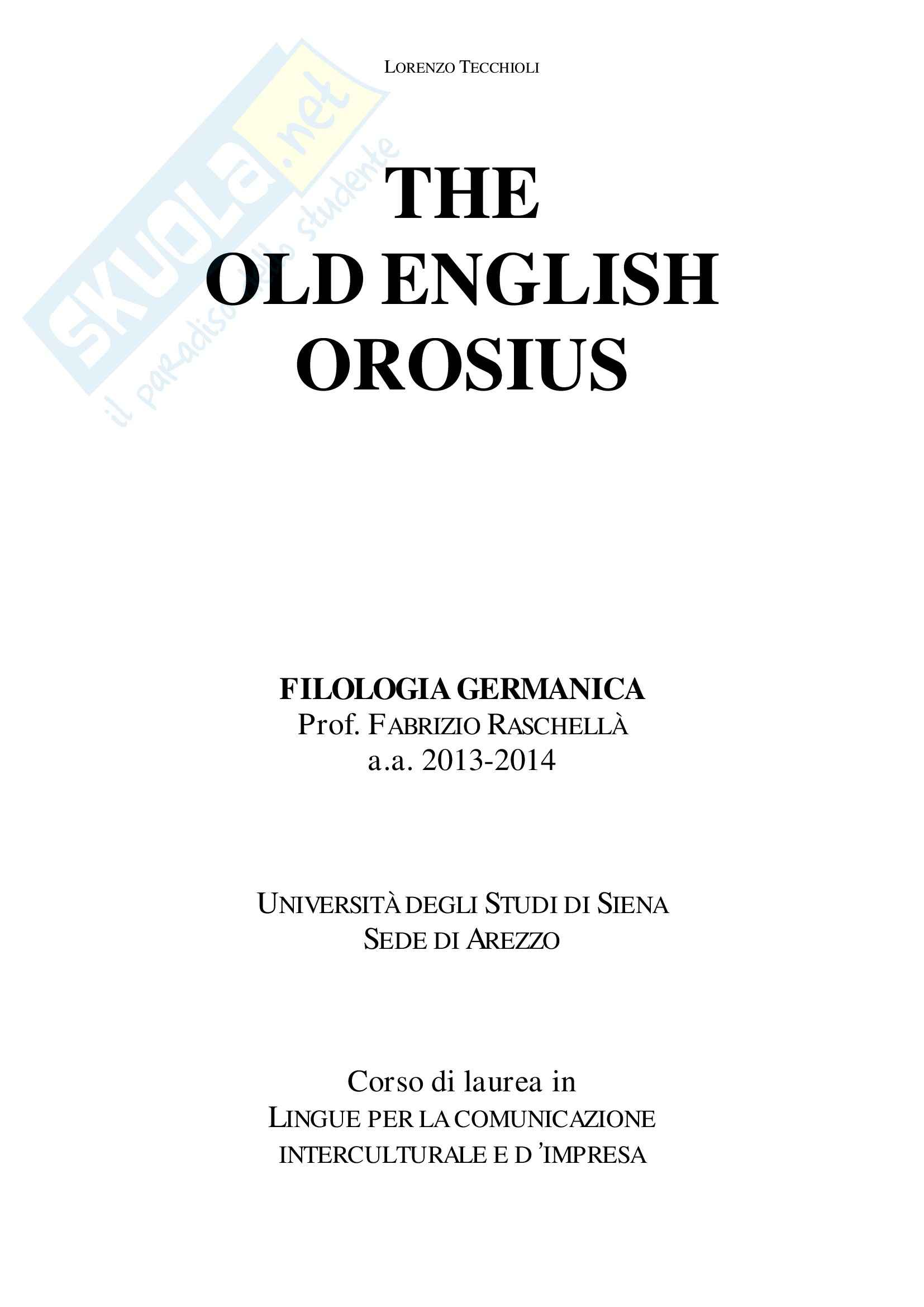 The Old English Orosius, Filologia germanica