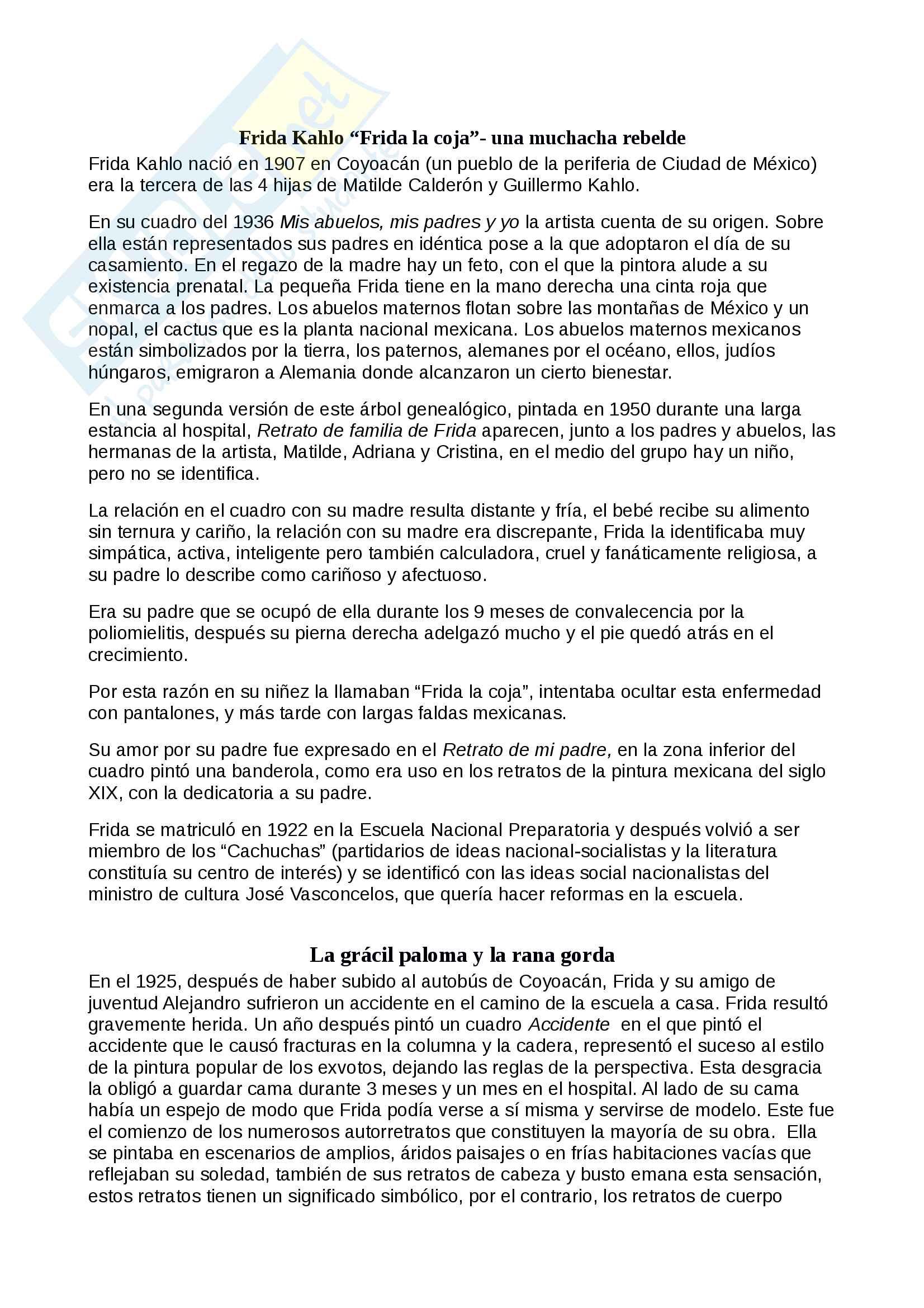 Riassunti di cultura spagnola in spagnolo su: Migración y frontera entre México y Estados Unidos, Vida y obras de la pintora mexicana Frida Kahlo