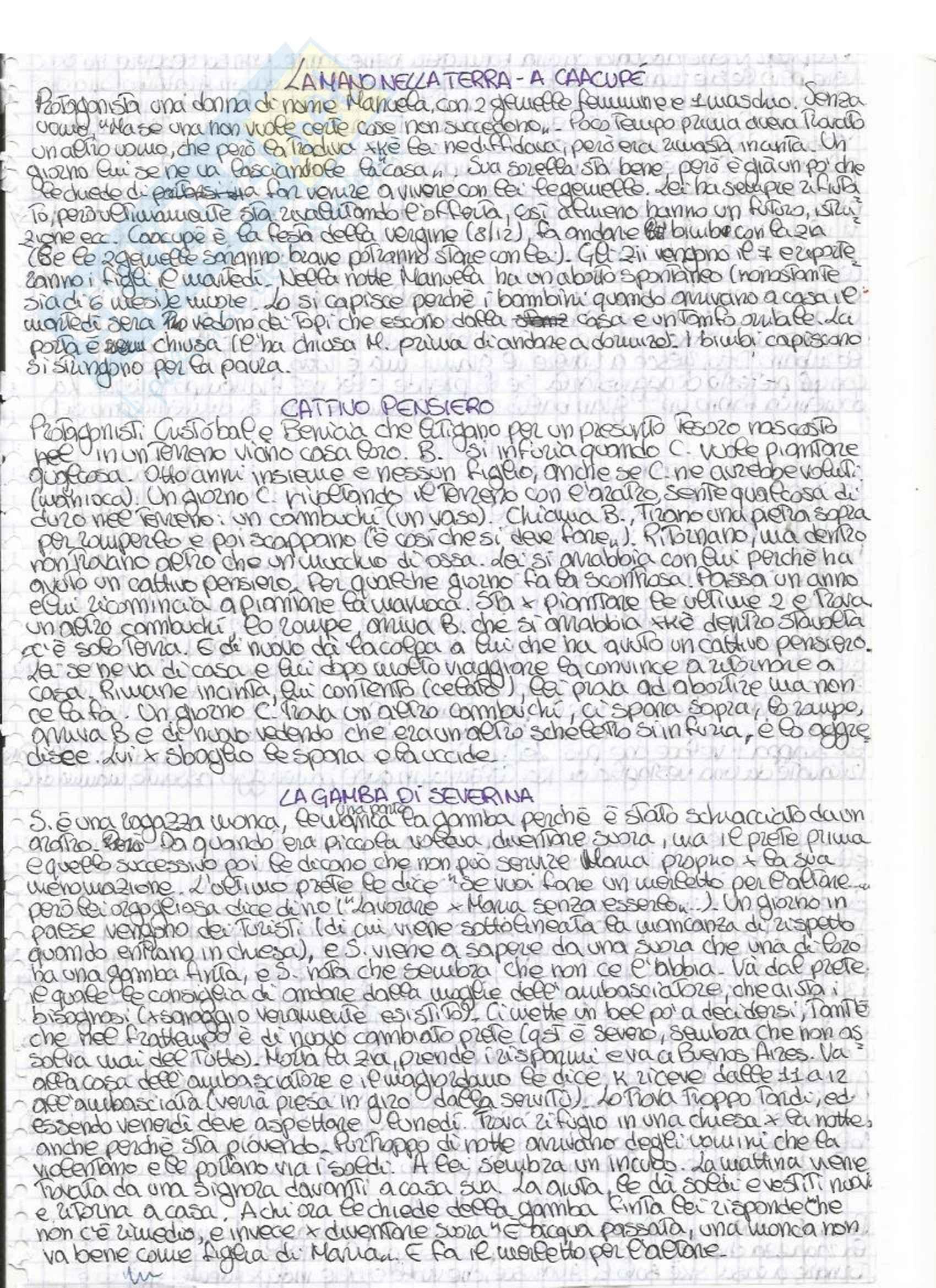 Riassunto esame Letteratura Ispano-americana, prof. Canfield, libro consigliato Racconti, Pla