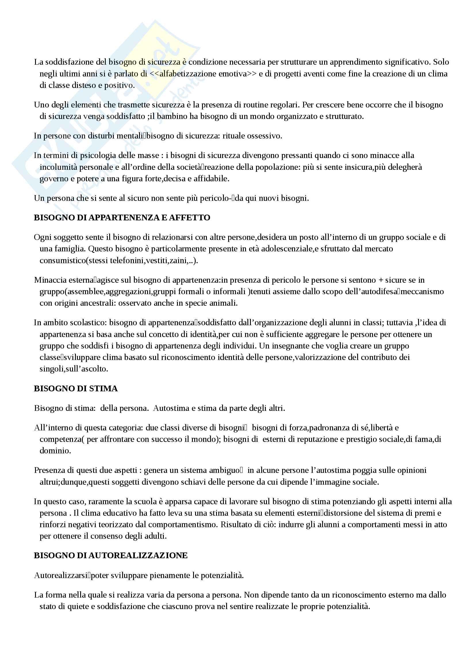 Riassunto esame pedagogia generale, prof.ssa Kanizsa, libro consigliato Relazioni educative e apprendimento, Capurso Pag. 2