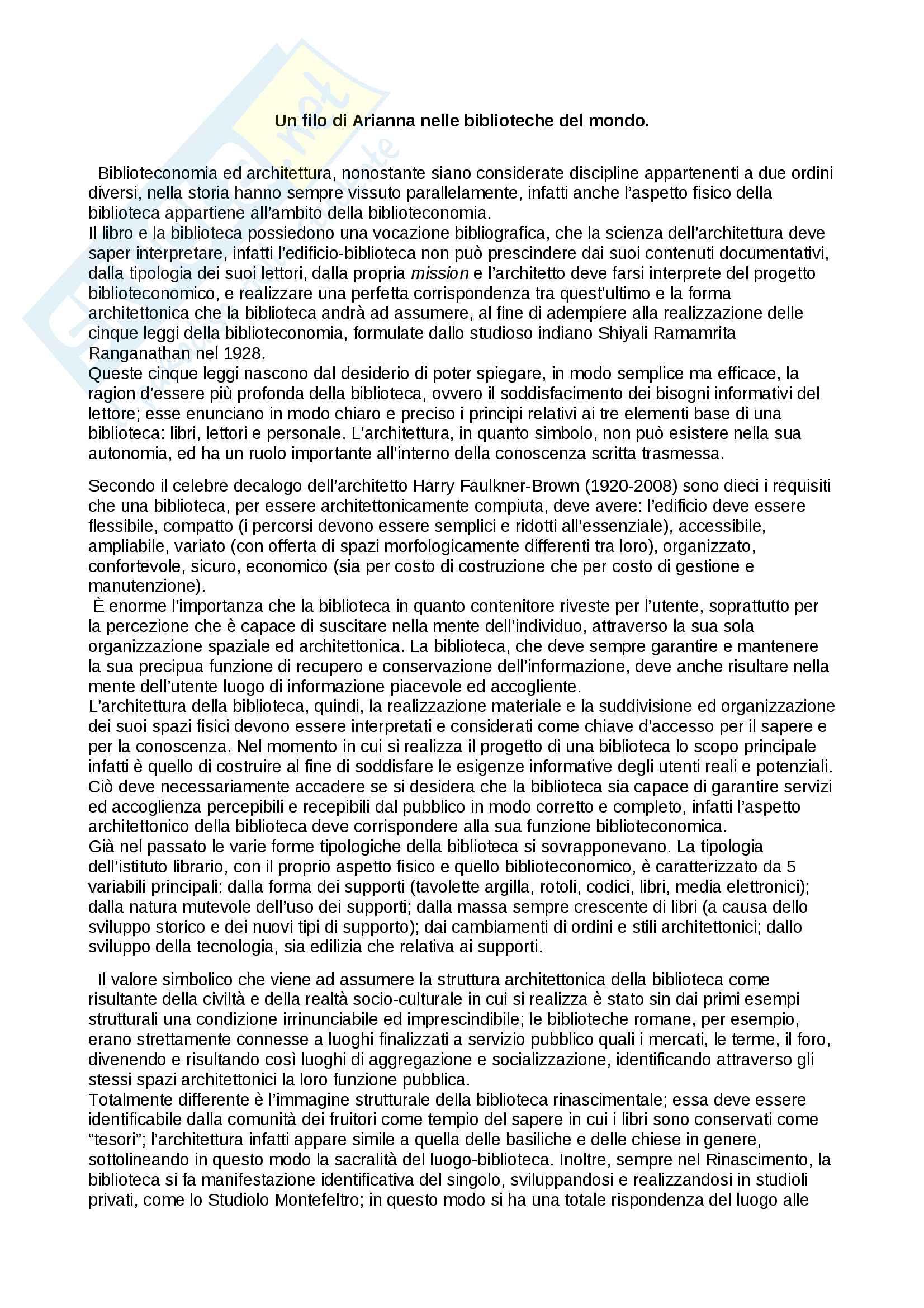 Tesina Biblioteconomia - Storia dell'architettura delle biblioteche