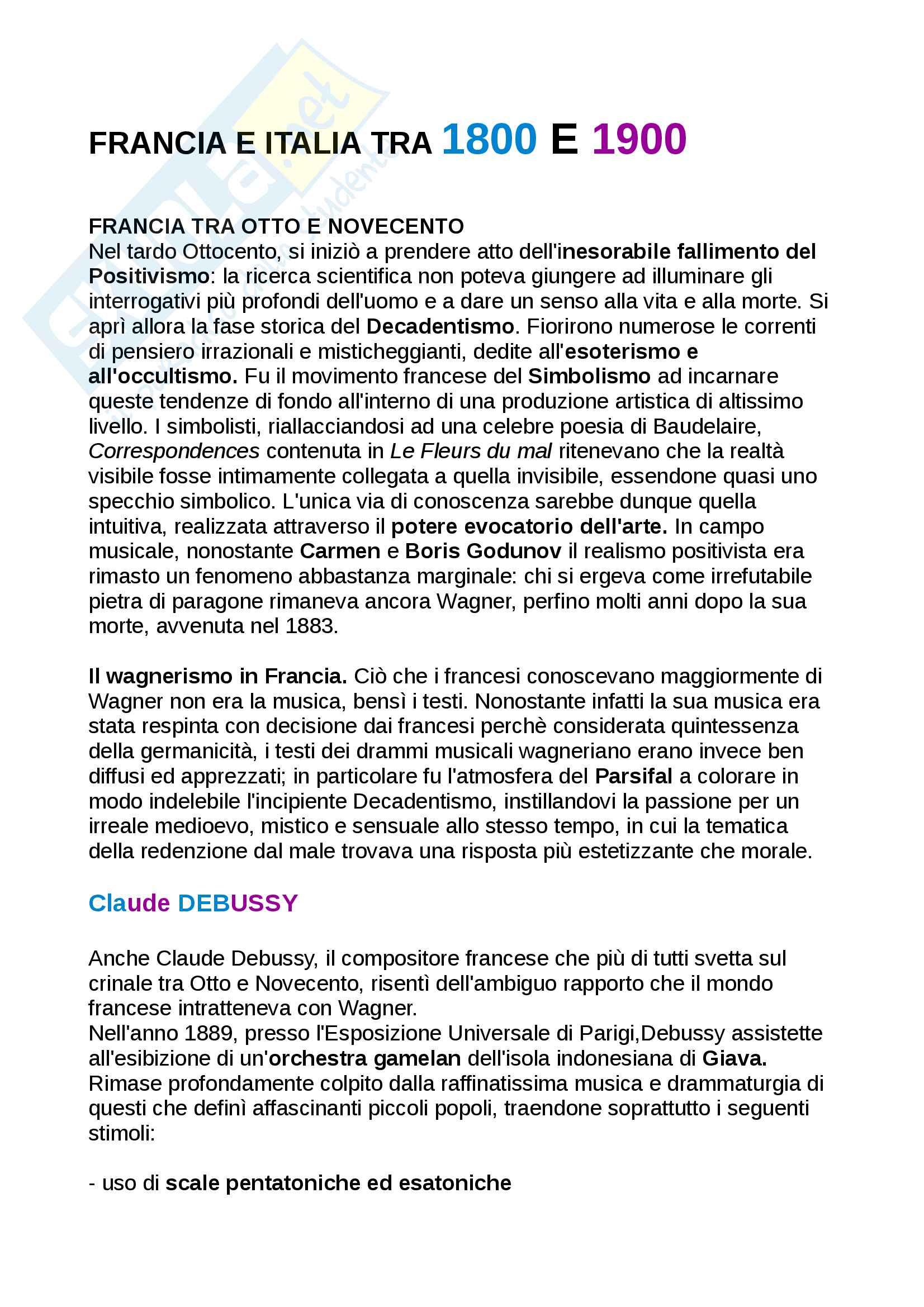 Riassunto Storia della musica moderna e contemporanea, libro consigliato: Manuale Carrozzo, Cimagalli - il 1900