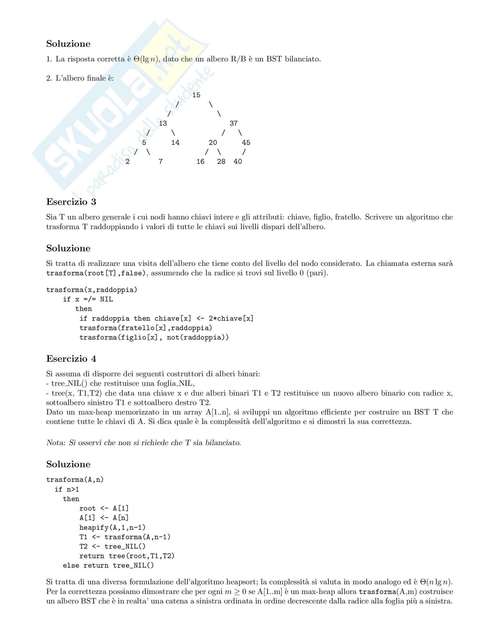 Algoritmi e strutture dati - Esercizi Pag. 2