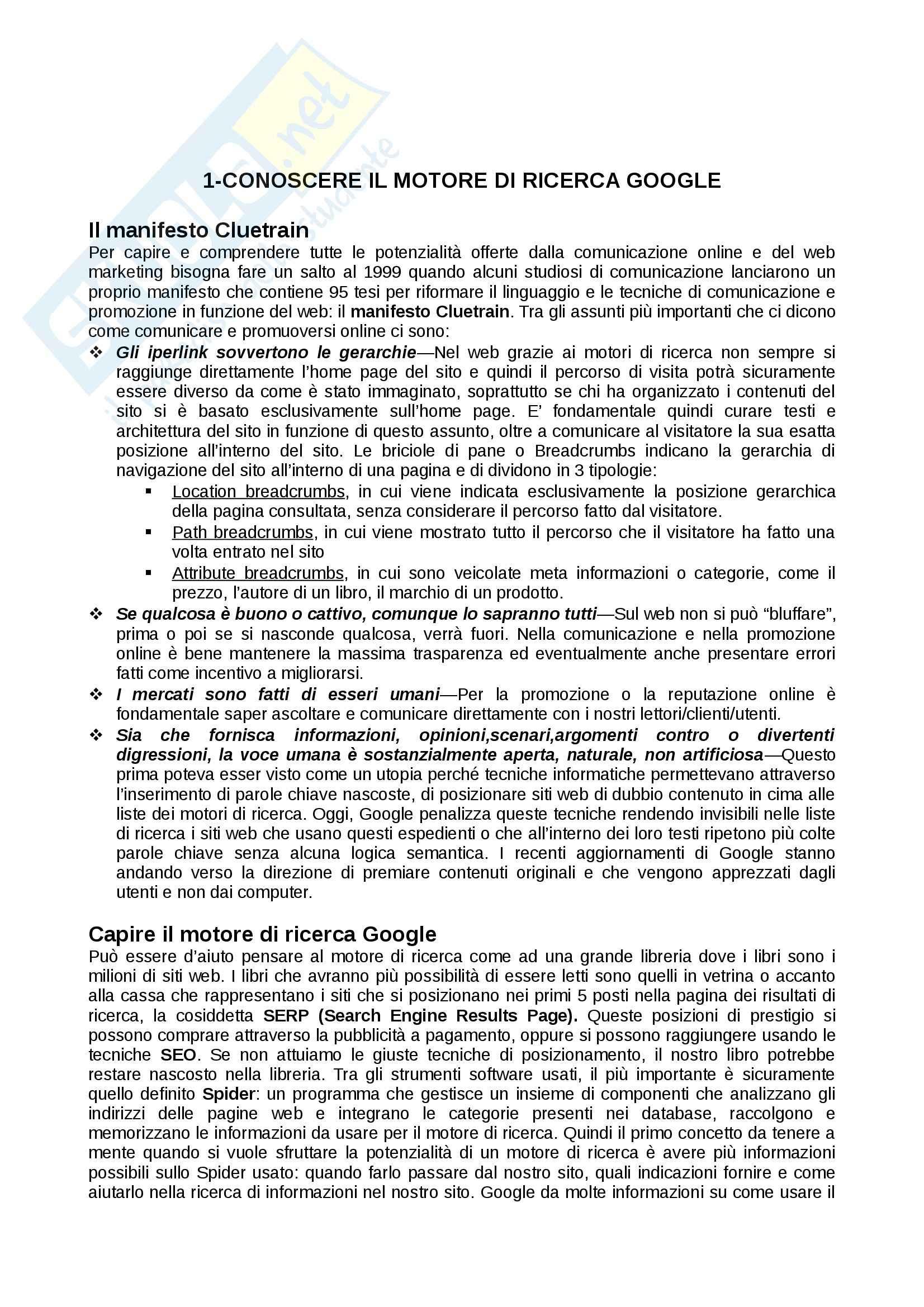Riassunto esame Comunicazione web, prof. De Nobili, libro consigliato SEO Google