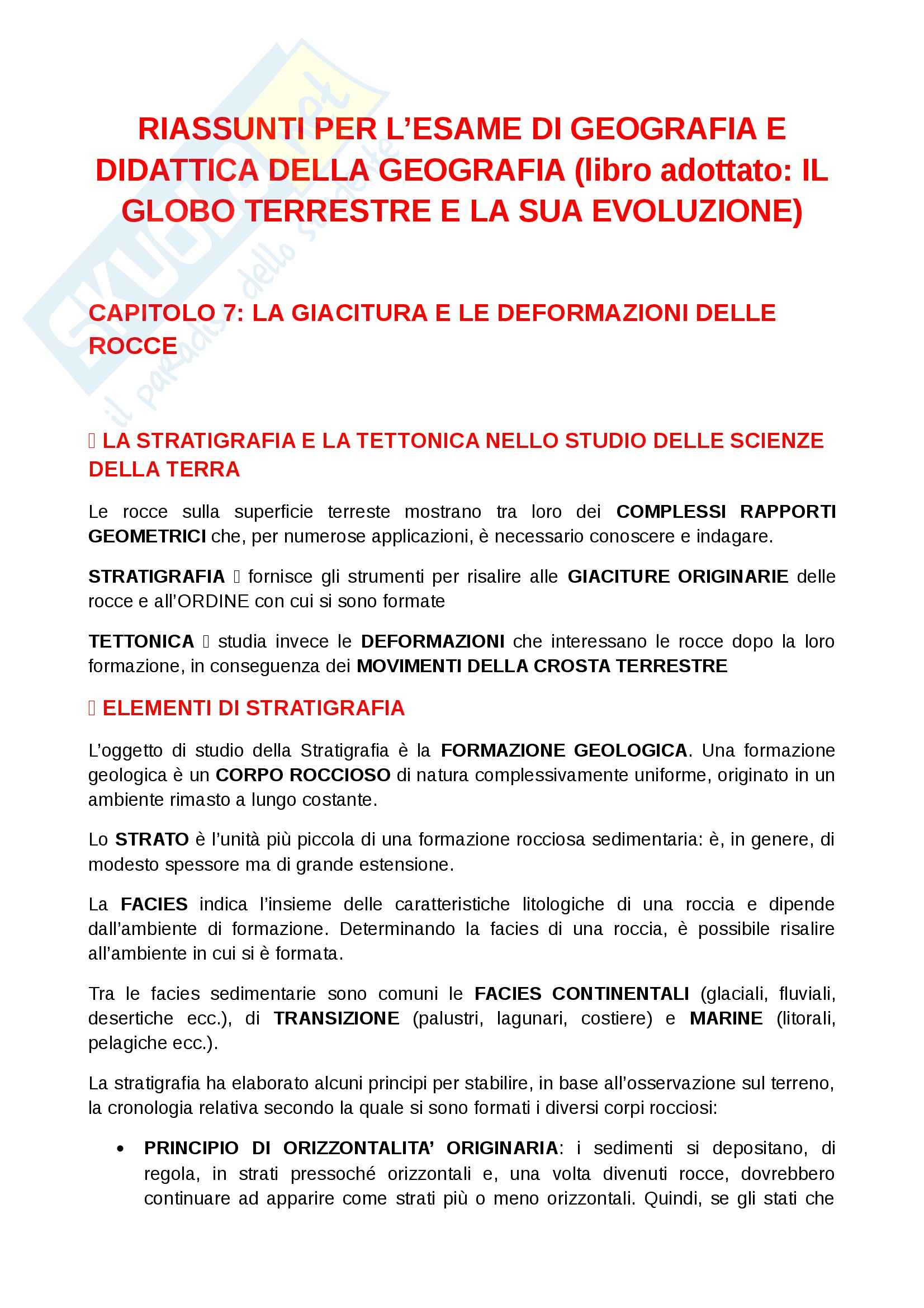 Riassunto esame Geografia, prof. Ugolini, libro consigliato Il globo terrestre e la sua evoluzione