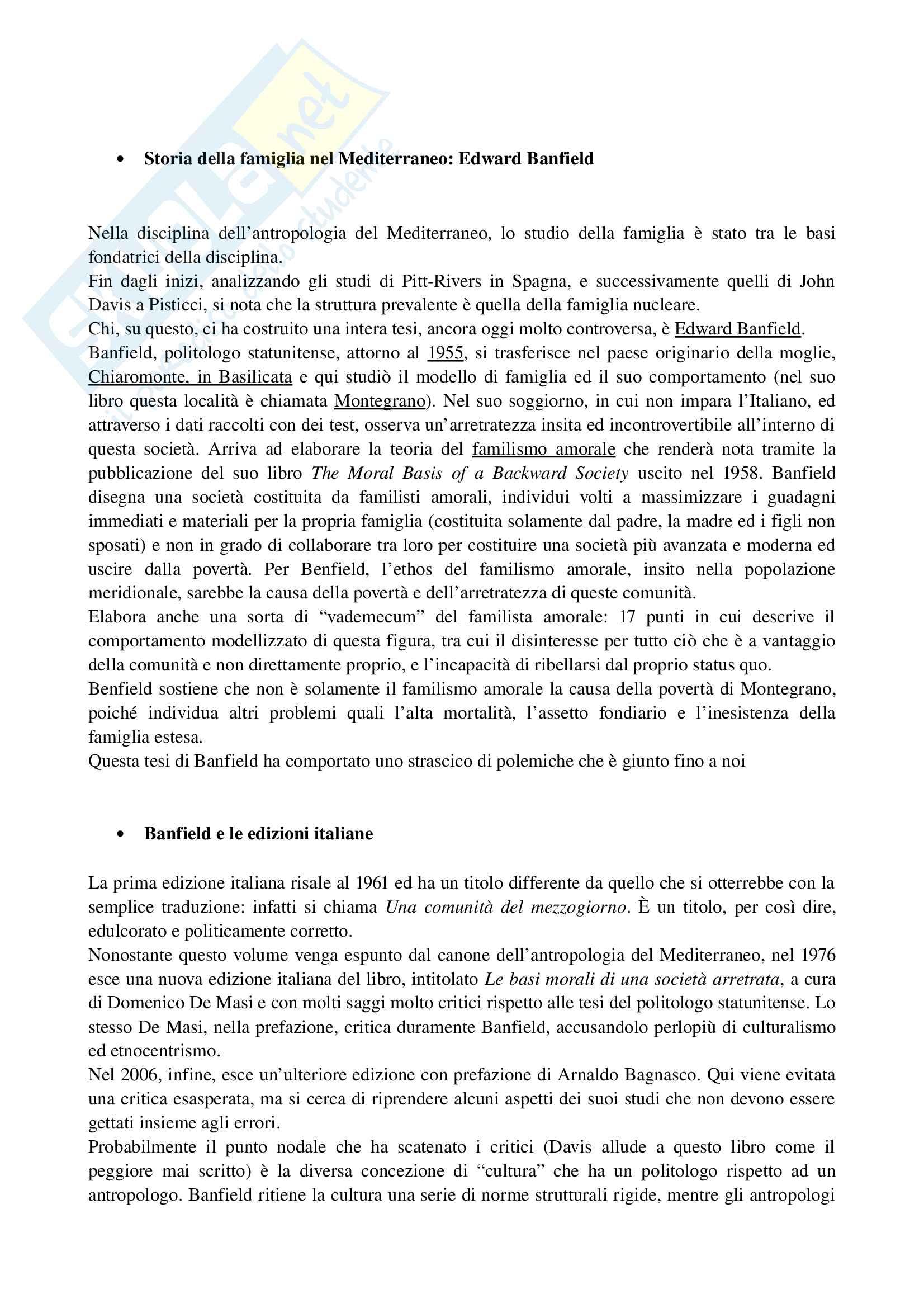 Appunti di Storia della famiglia nel Mediterraneo (riassunto teorie di Banfield, Laslett, Hejnal, Signorelli, Capello)