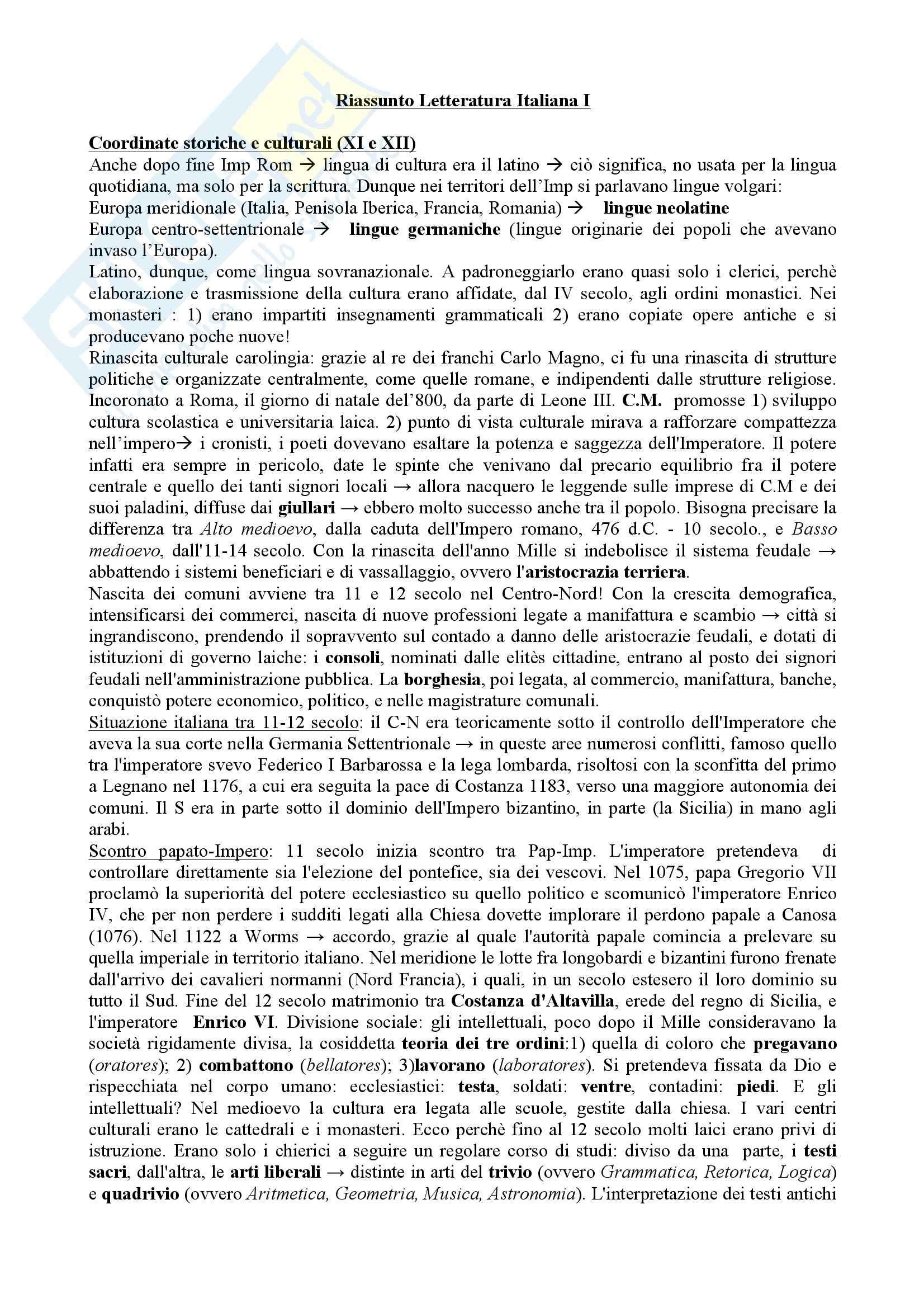 Riassunto esame Letteratura Italiana I, prof. Di Staso, libro consigliato I tre libri di letteratura Origini_Seicento, Santagata, Carotti, Casadei, Tavoni