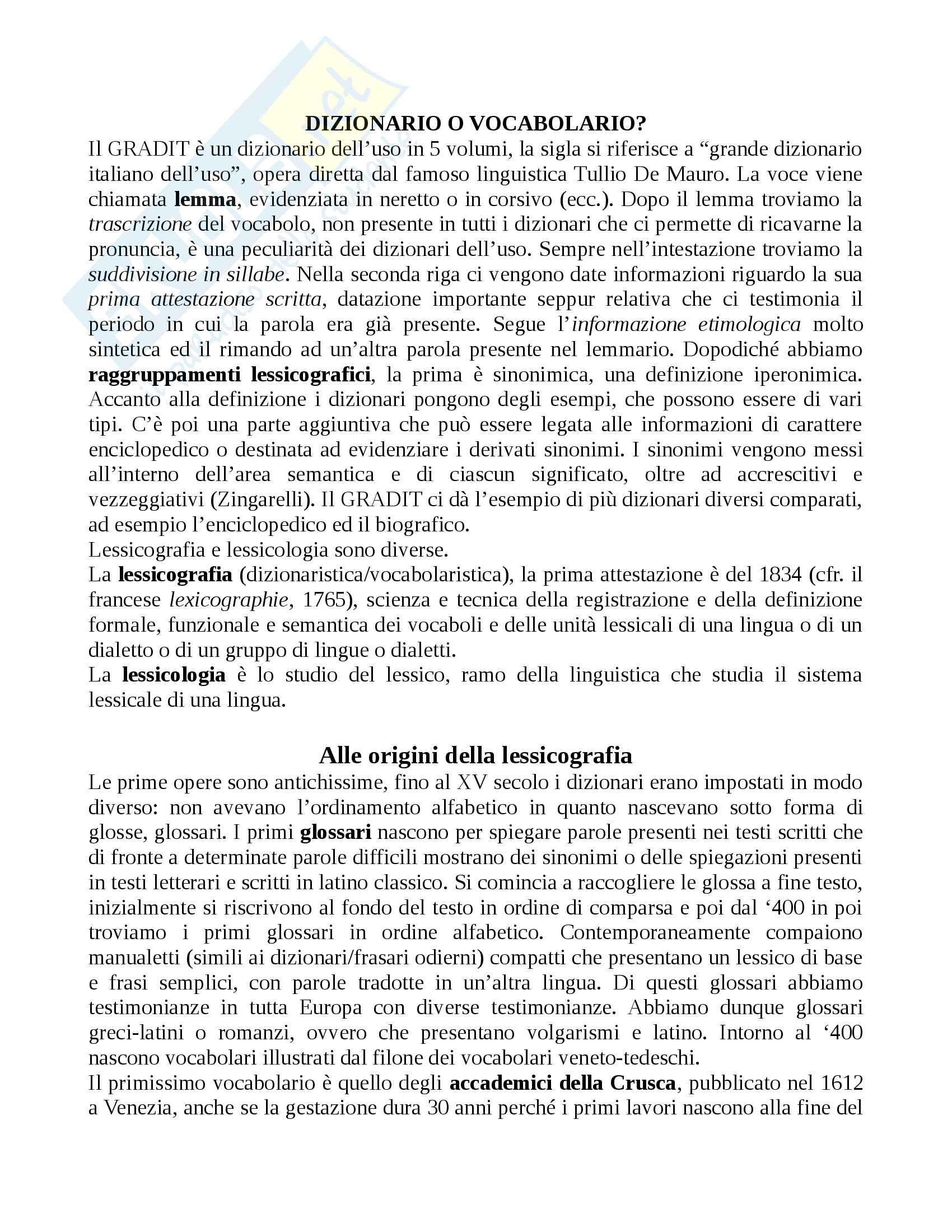 Appunti completi Linguistica Italiana Cacia - Onomastica (Modulo B)
