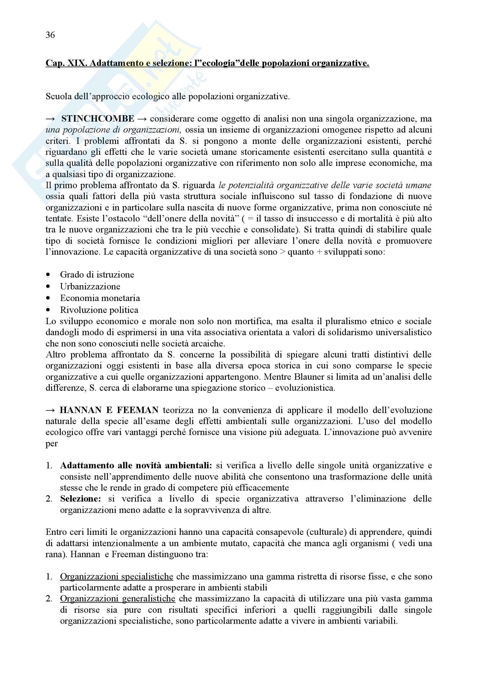 Riassunto esame Sociologia dell'Organizzazione, prof. Nocifera, libro consigliato Storia del Pensiero Organizzativo, Bonazzi Pag. 36