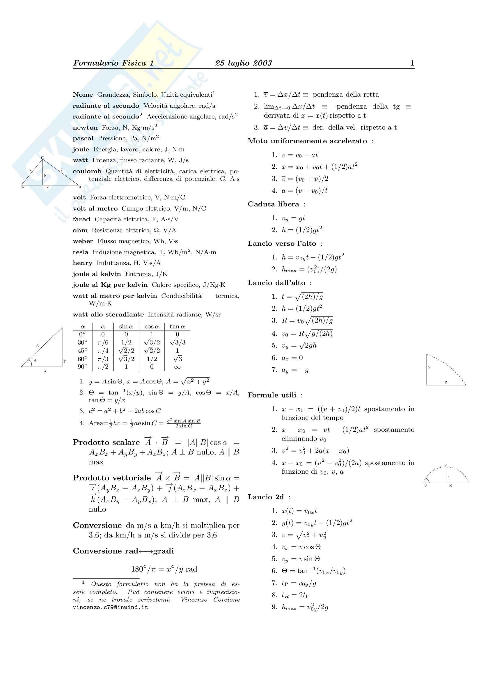Fisica Generale 1 - Formulario