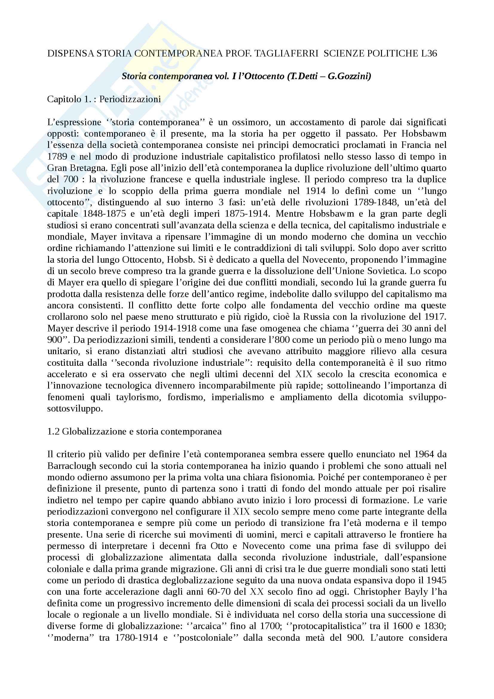 Riassunto esame Storia Contemporanea, prof. Teodoro Tagliaferri, libro consigliato Storia contemporanea vol. I l'Ottocento, Detti, Gozzini