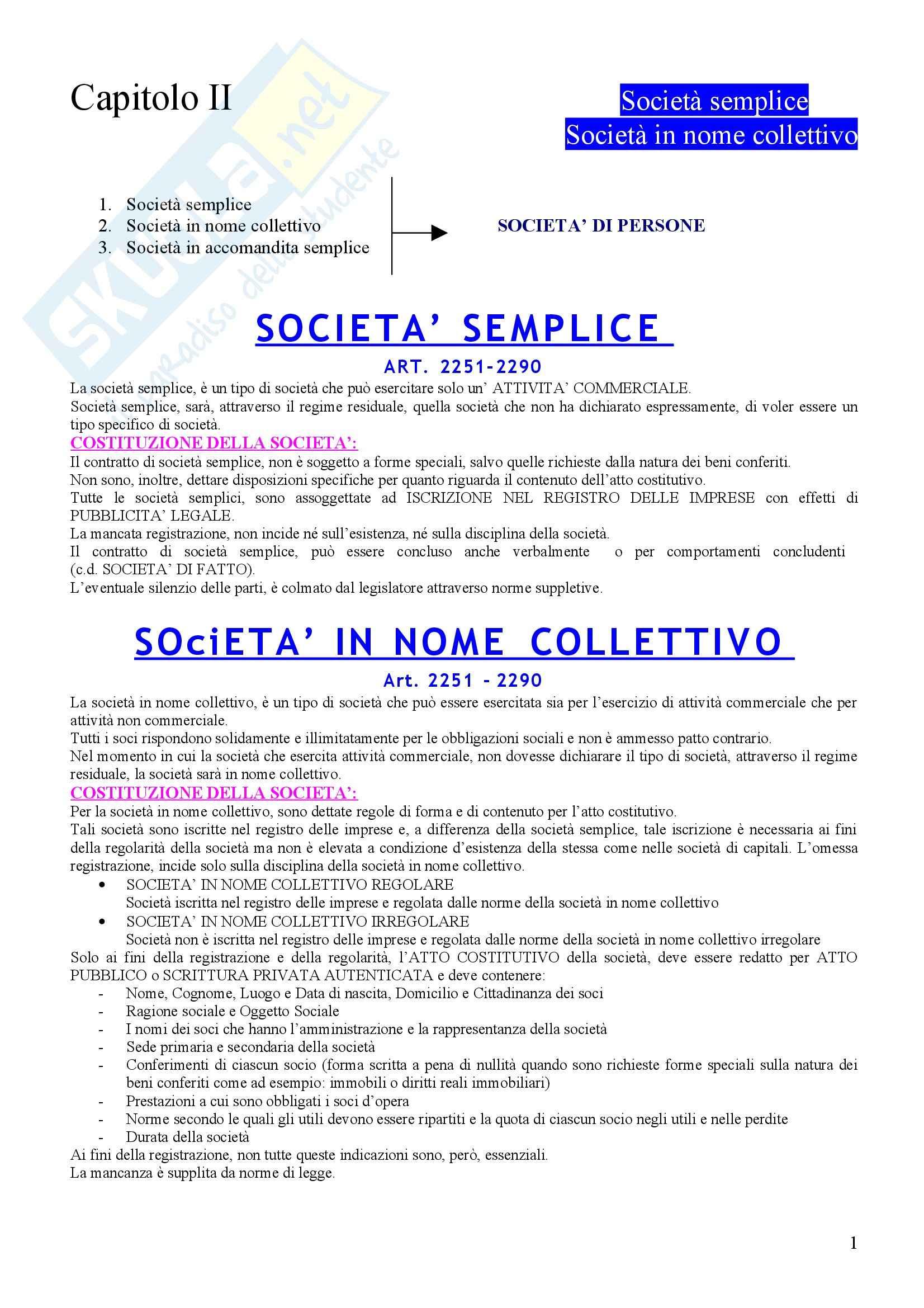 Diritto commerciale - la società semplice e la società in nome collettivo