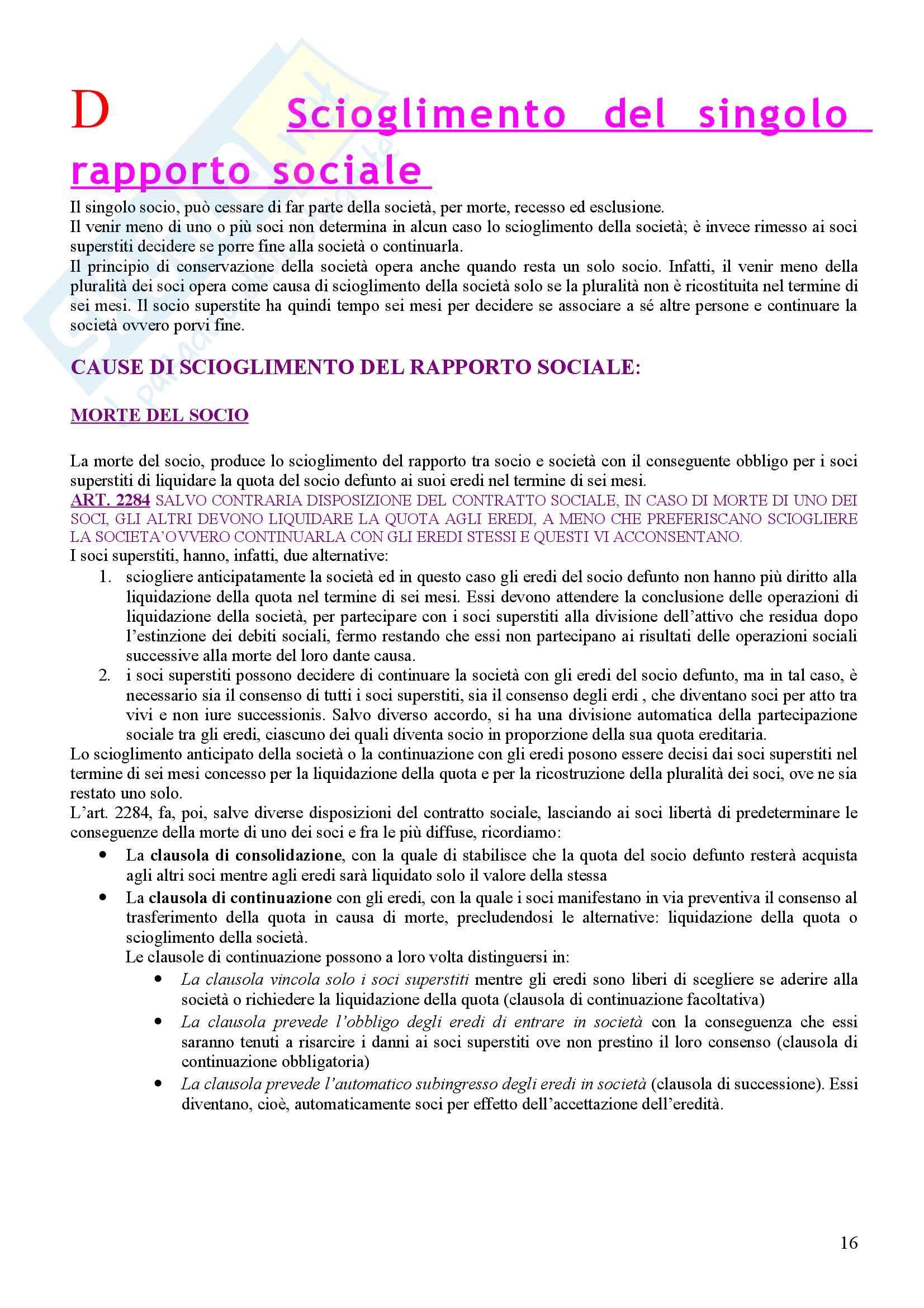 Diritto commerciale - la società semplice e la società in nome collettivo Pag. 16