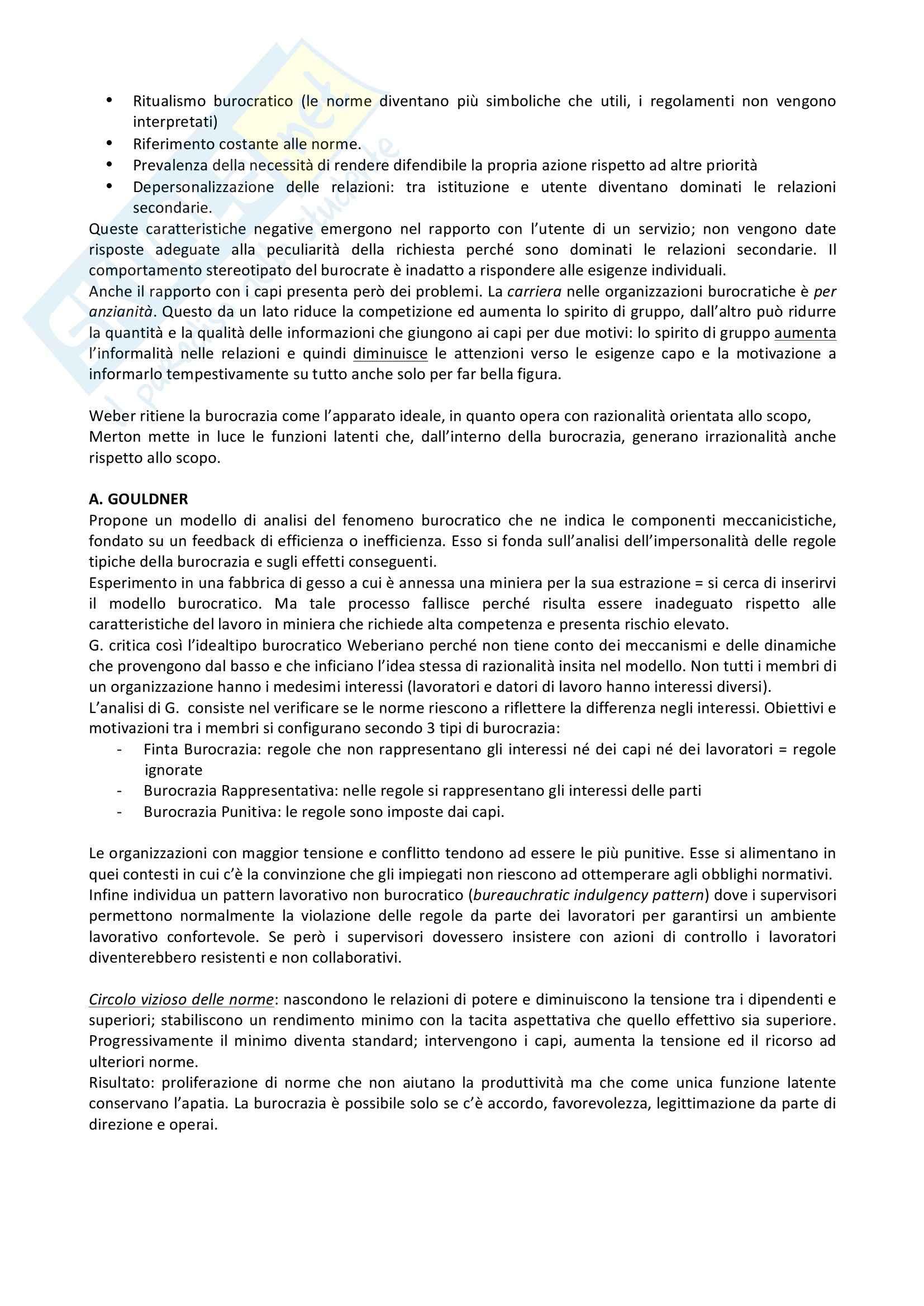 Riassunto esame Organizzazione, prof. Favretto, libro consigliato Organizzazione del lavoro Pag. 6