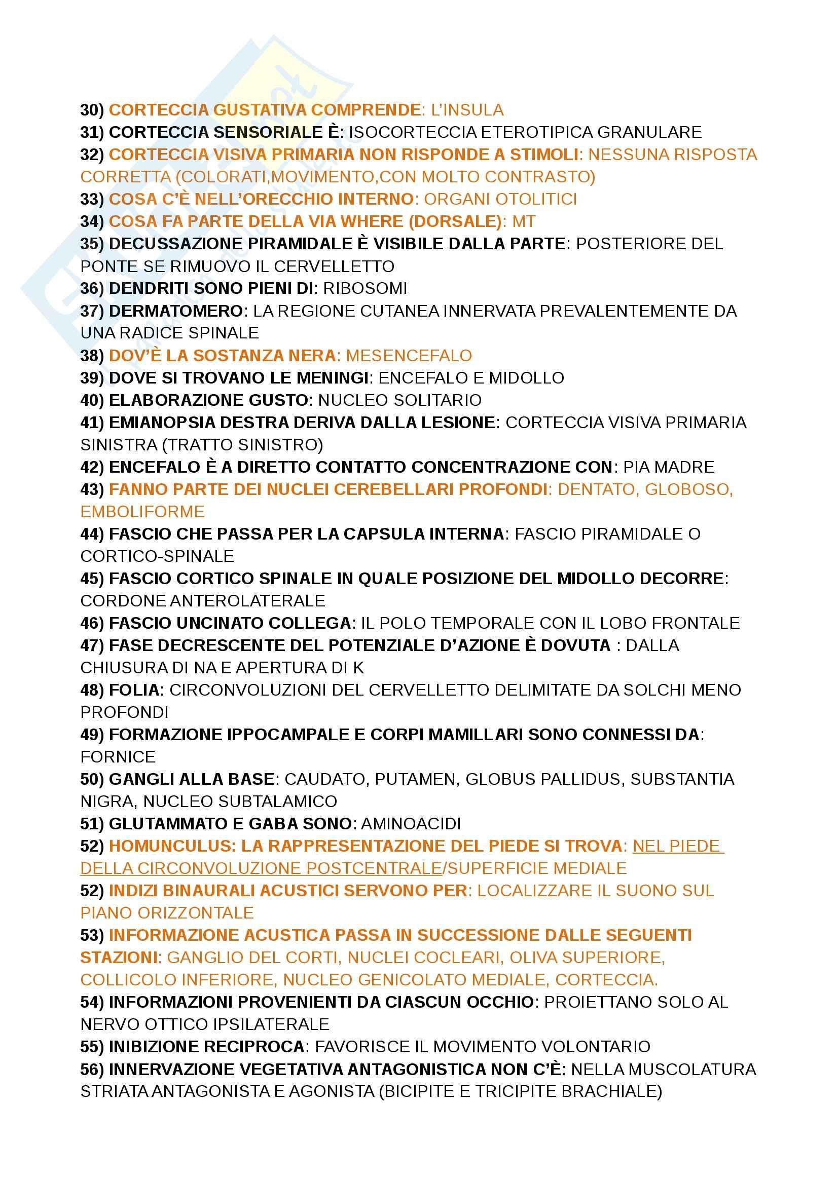 Domande crocette, Paulesu, fondamenti anatomo fisiologici dell'attività psichica Pag. 2