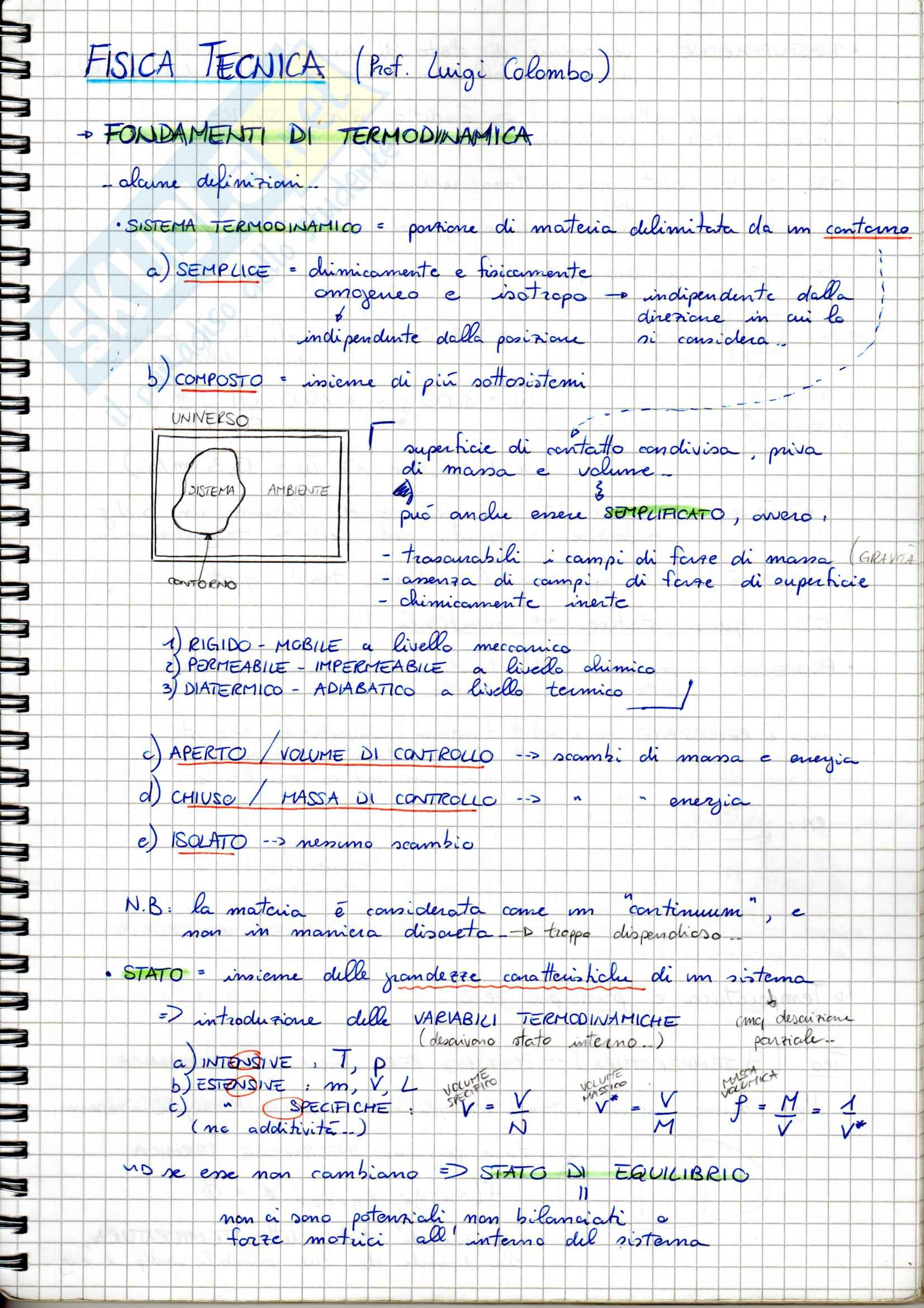 Fisica tecnica - Appunti