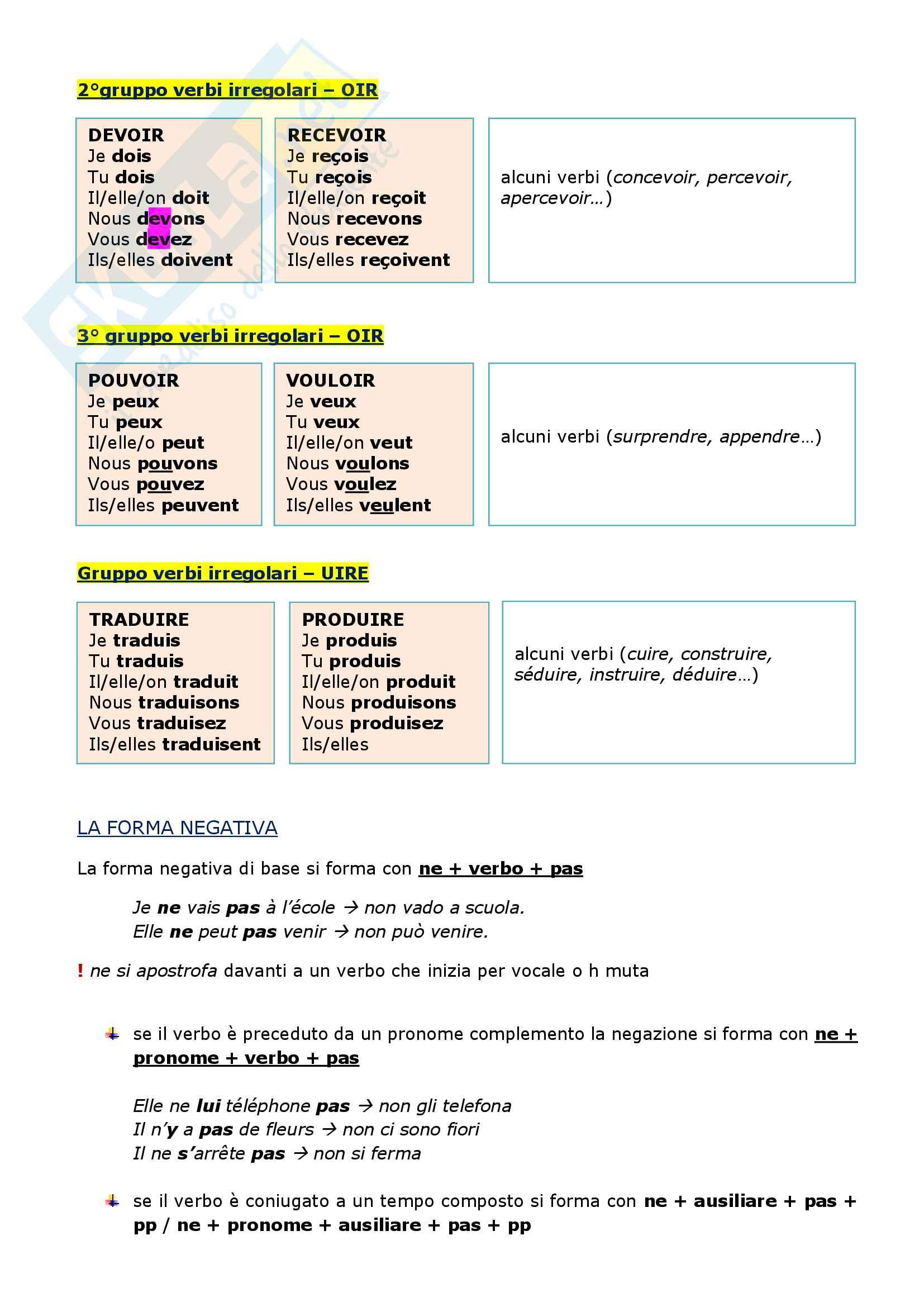 Riassunto esame di grammatica francese, prof.ssa Arnaud Pag. 11