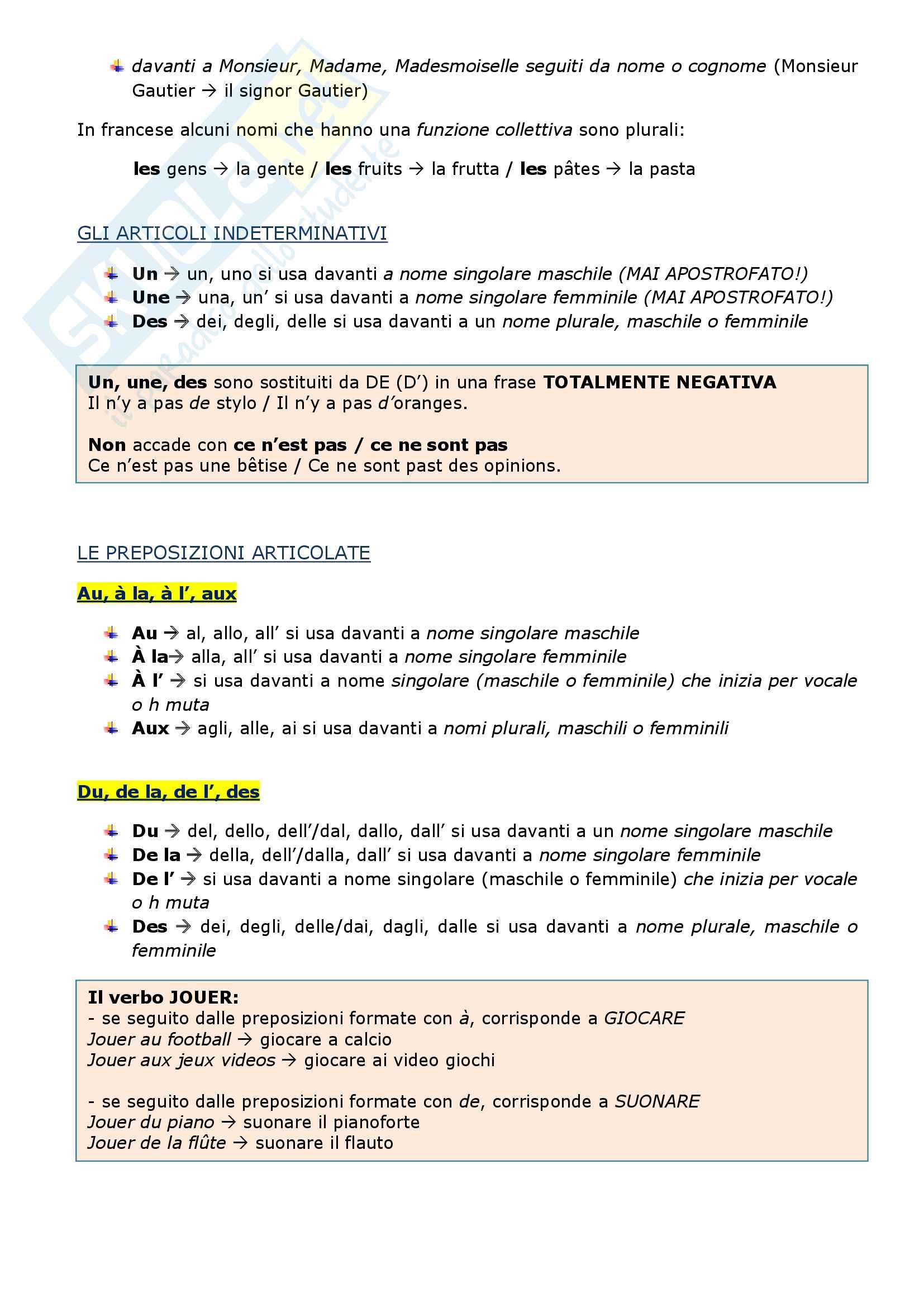 Riassunto esame di grammatica francese, prof.ssa Arnaud Pag. 2