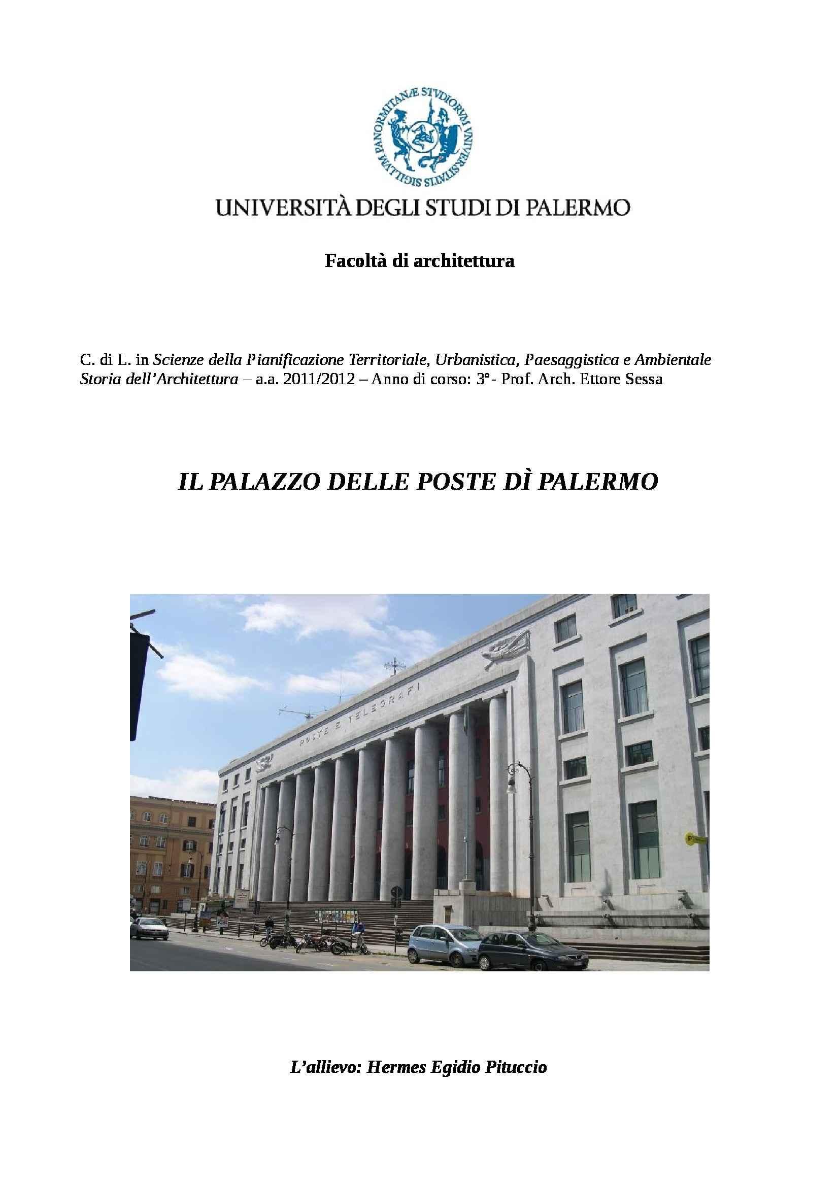 Storia dell'architettura - saggio storico critico sul Palazzo delle Poste