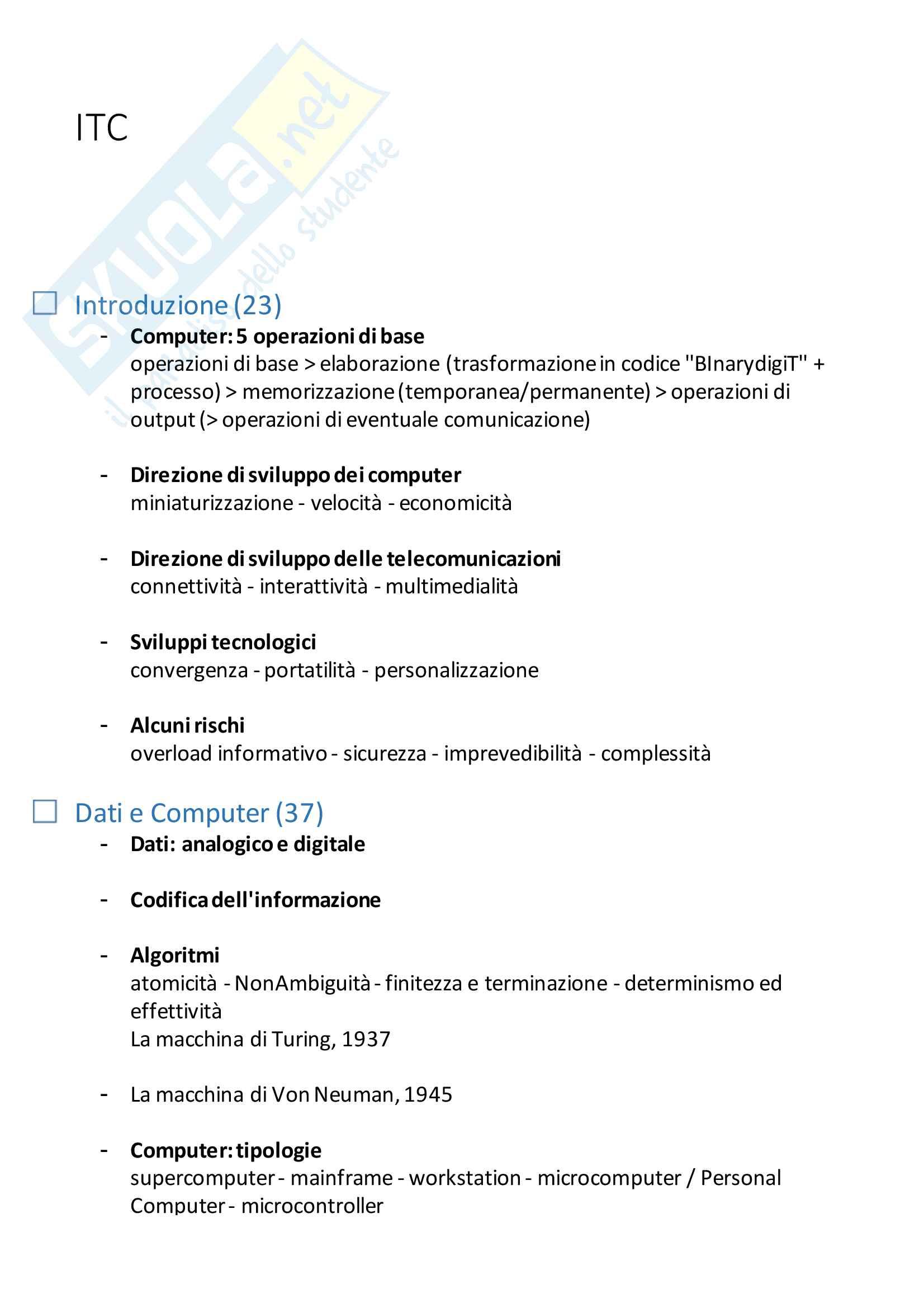 Riassunto esame Informatica per la comunicazione (parte teorica), docente CUMAN, libro consigliato ITC e società dell'informazione, Carignani, Frigerio, Rajola