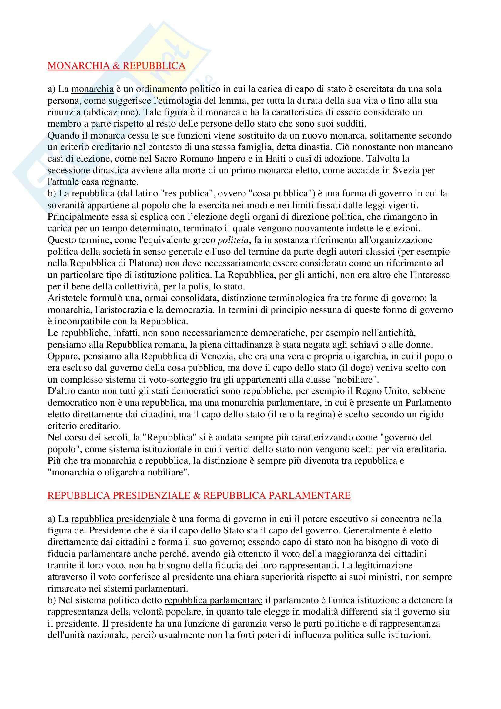 Diritto costituzionale - nozioni generali - Appunti