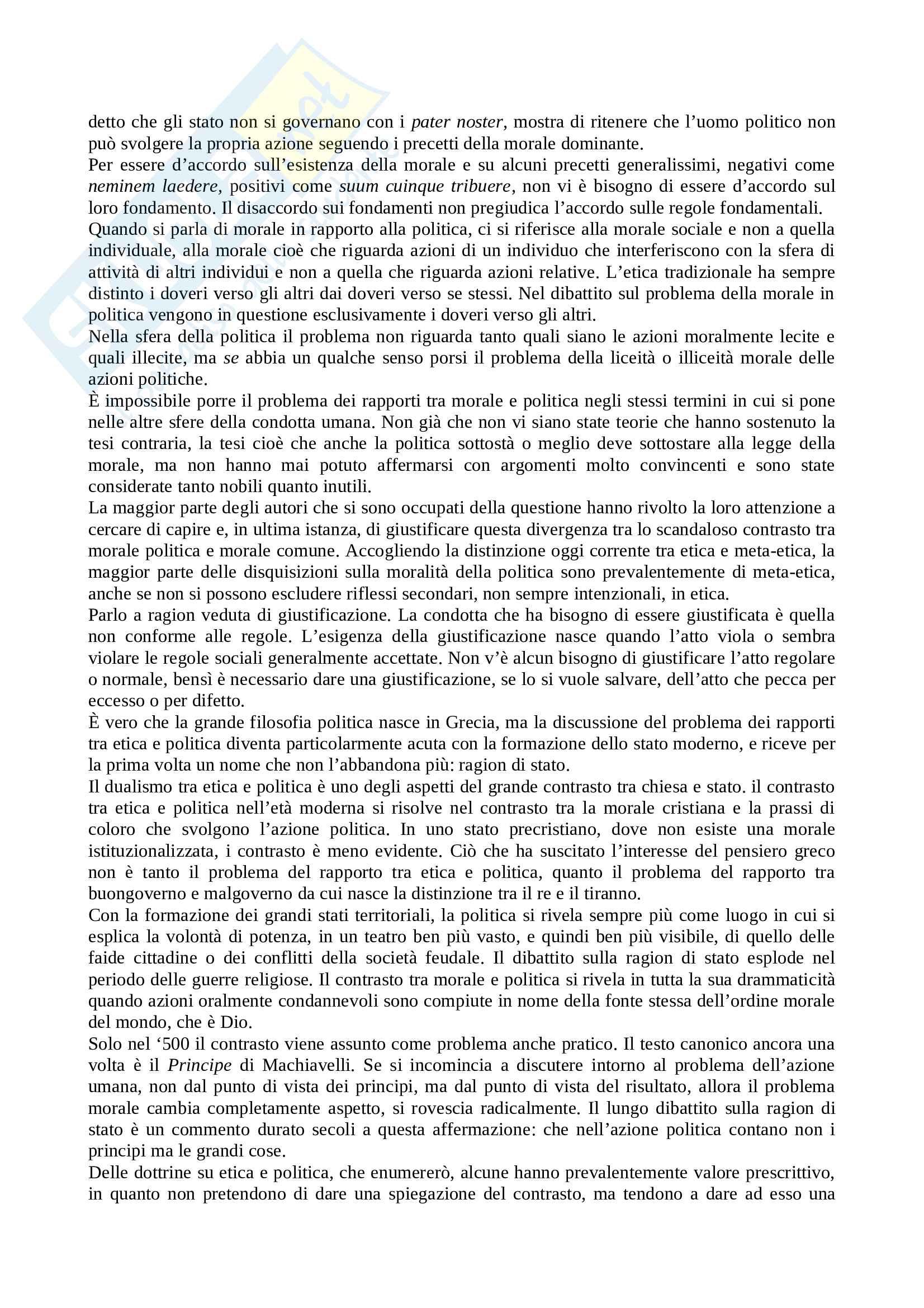 Riassunto esame Teoria Politica, prof. Cotta, libro consigliato Elementi di Politica di Bobbio Pag. 6
