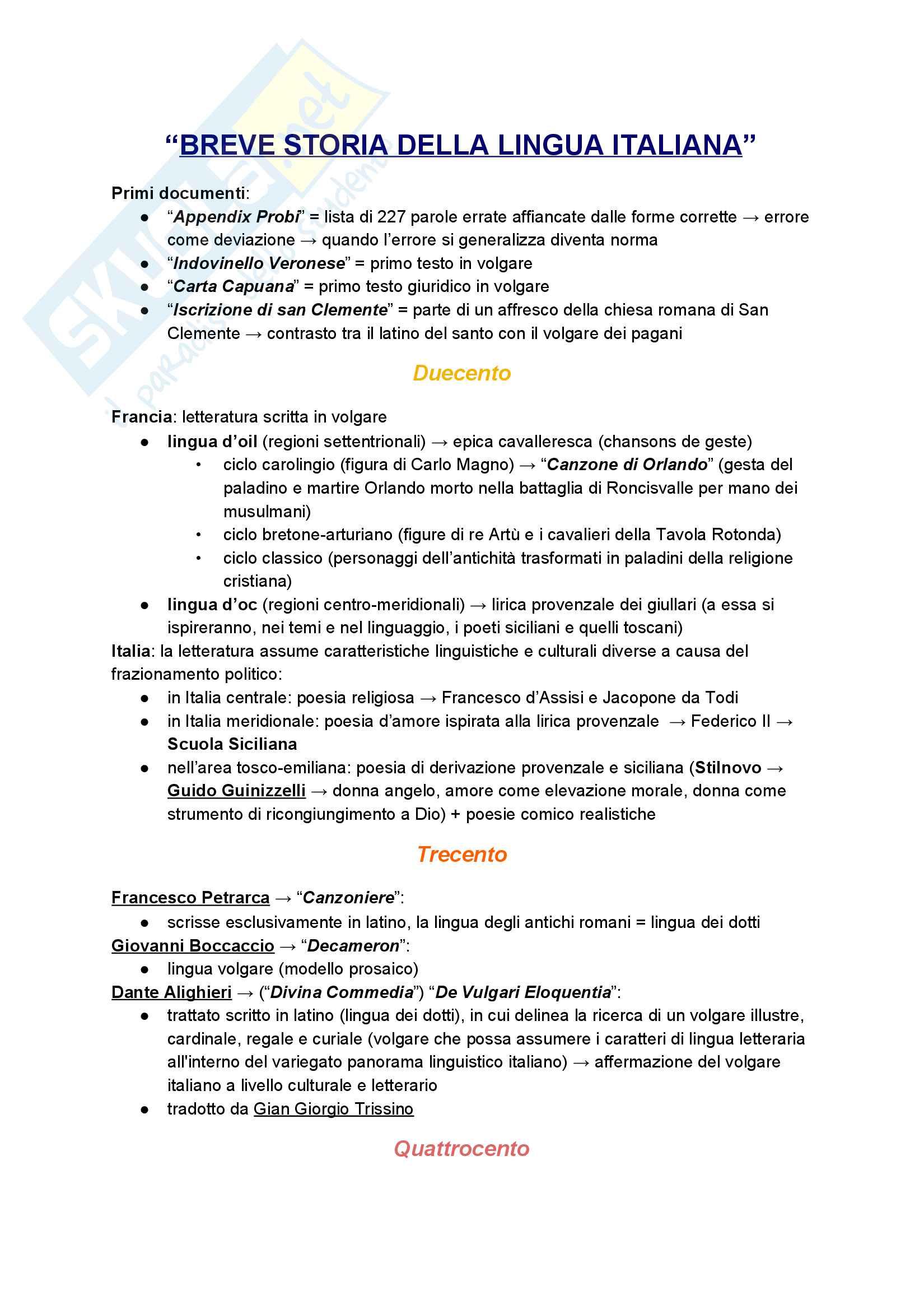 Riassunto esame Linguistica Italiana, prof. Zublena, libro consigliato Breve storia della lingua italiana, Marazzini