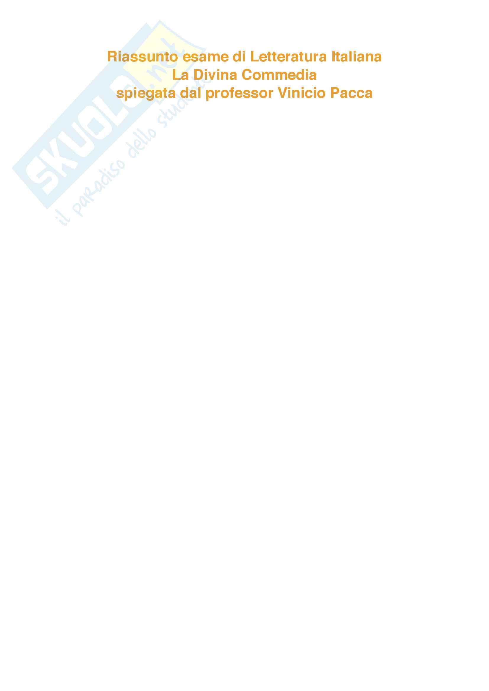"""Riassunto esame Letteratura Italiana, prof. Santagata e Pacca, libro adottato """"La Divina Commedia"""" di Dante Alighieri, edizione commentata Bosco, Reggio, Volante"""