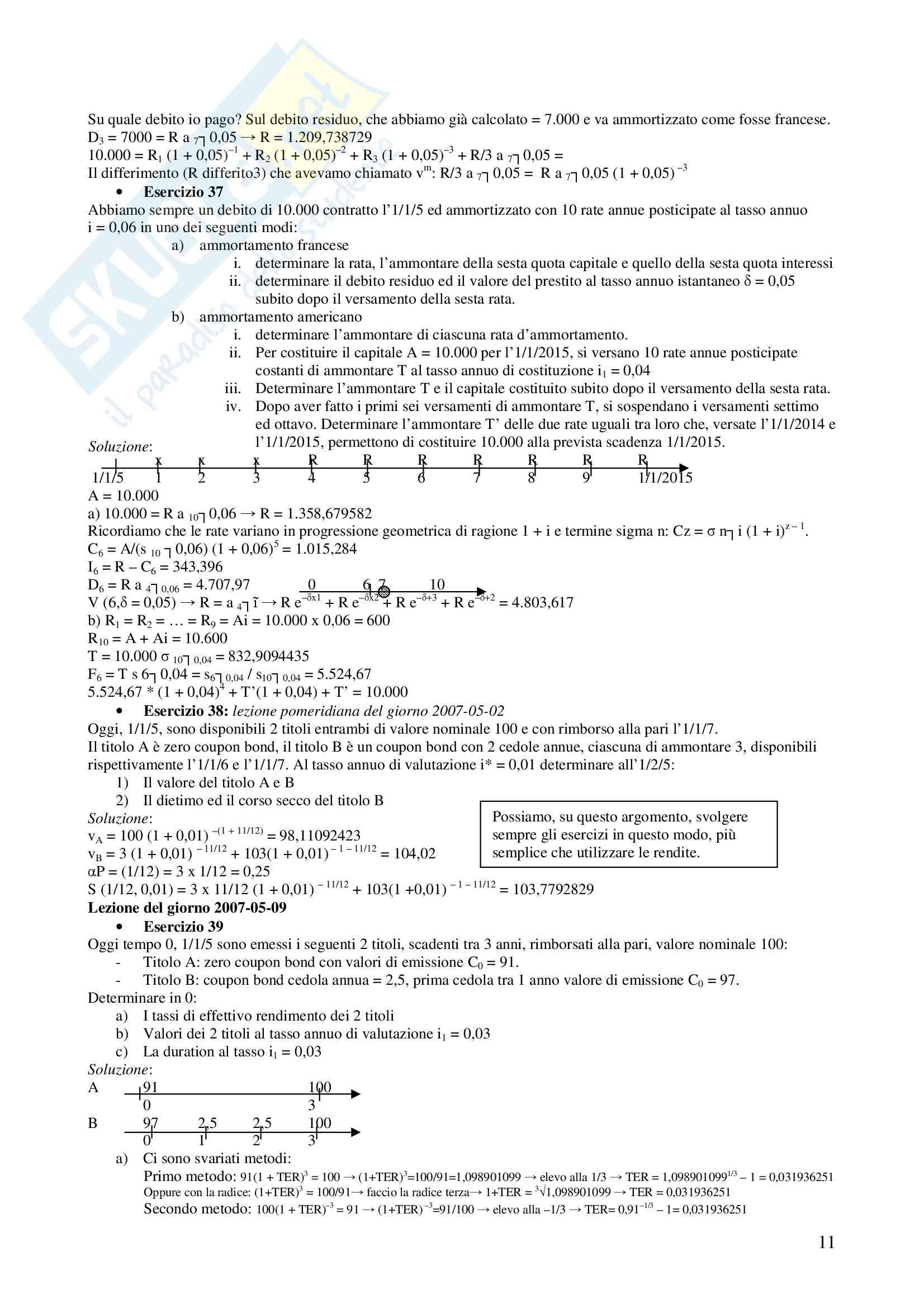 Matematica finanziaria - Esercizi Pag. 11