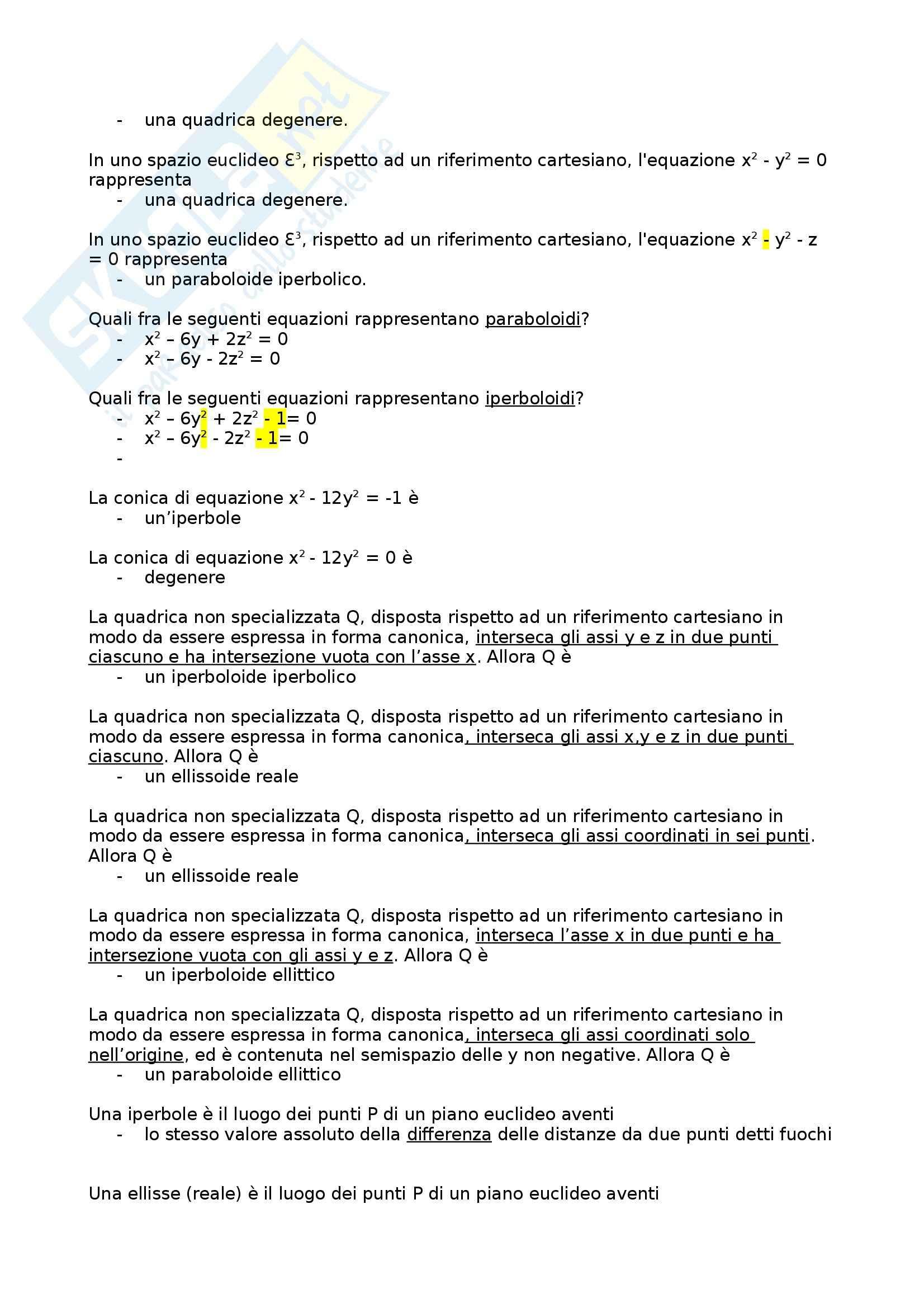 Geometria e Algebra T - Tipologie di domande e risposte vere del test di teoria Pag. 16