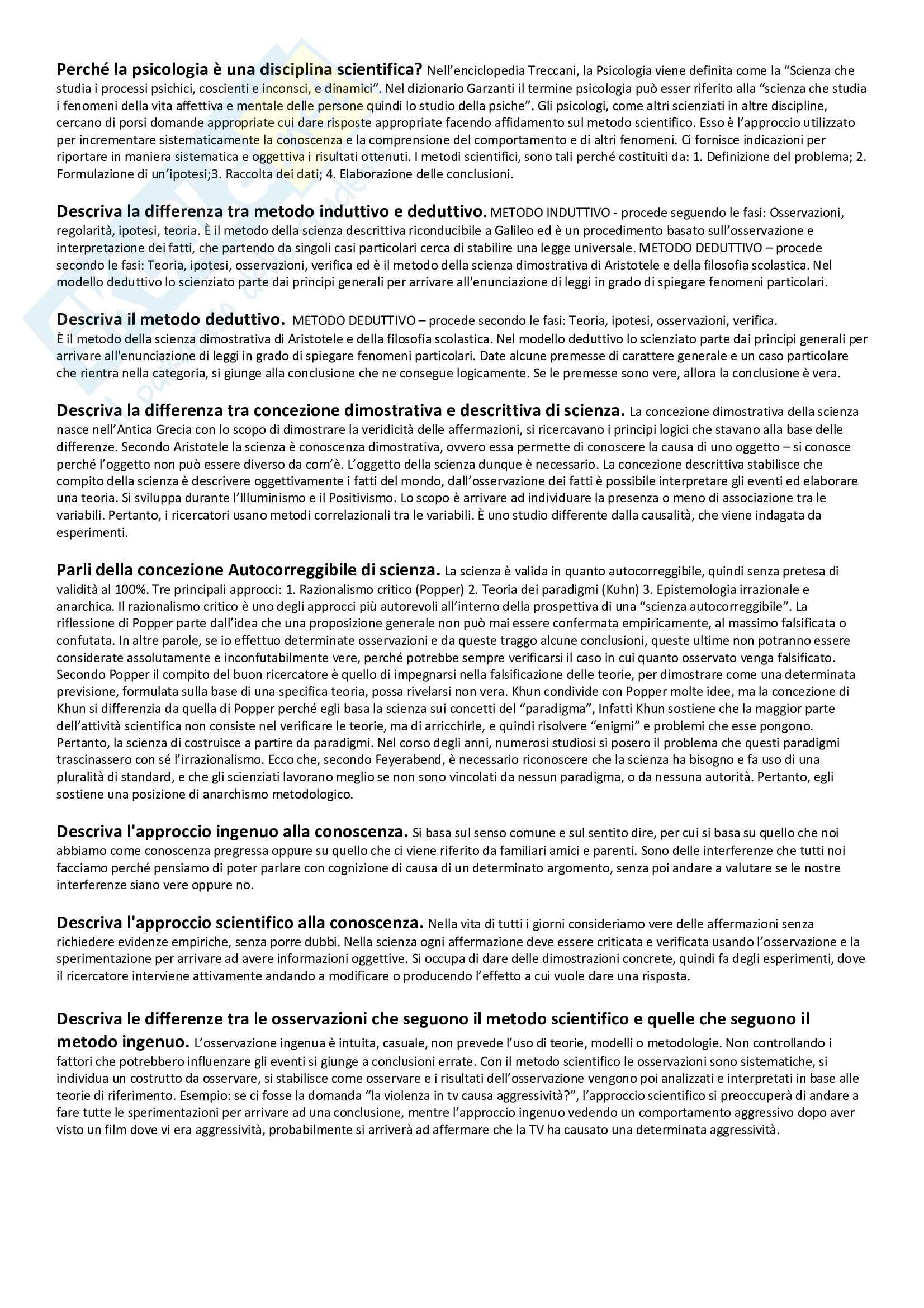 Metodologia della ricerca psicologica - Domande aperte
