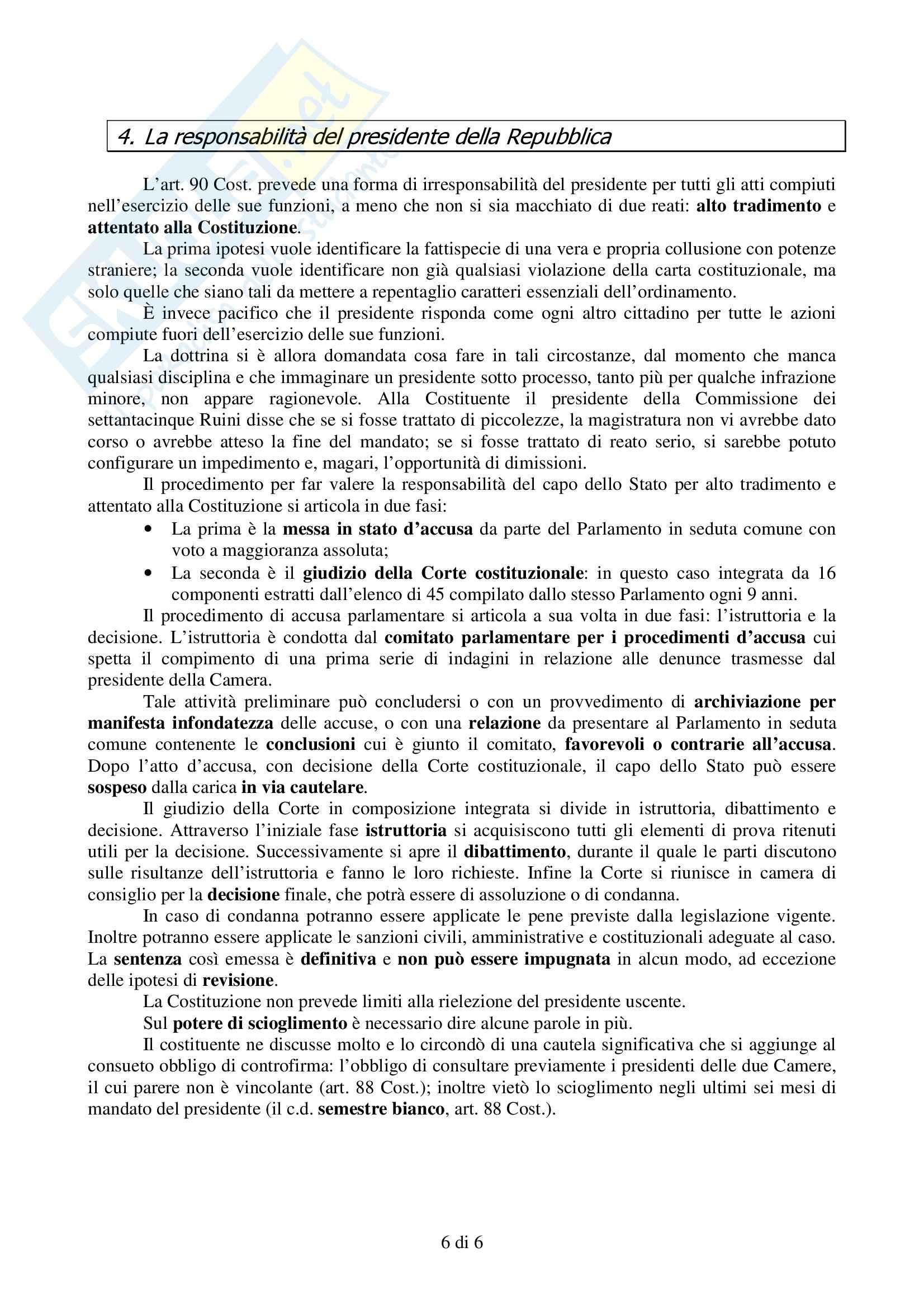 Istituzioni di diritto pubblico - Presidente della Repubblica Pag. 6